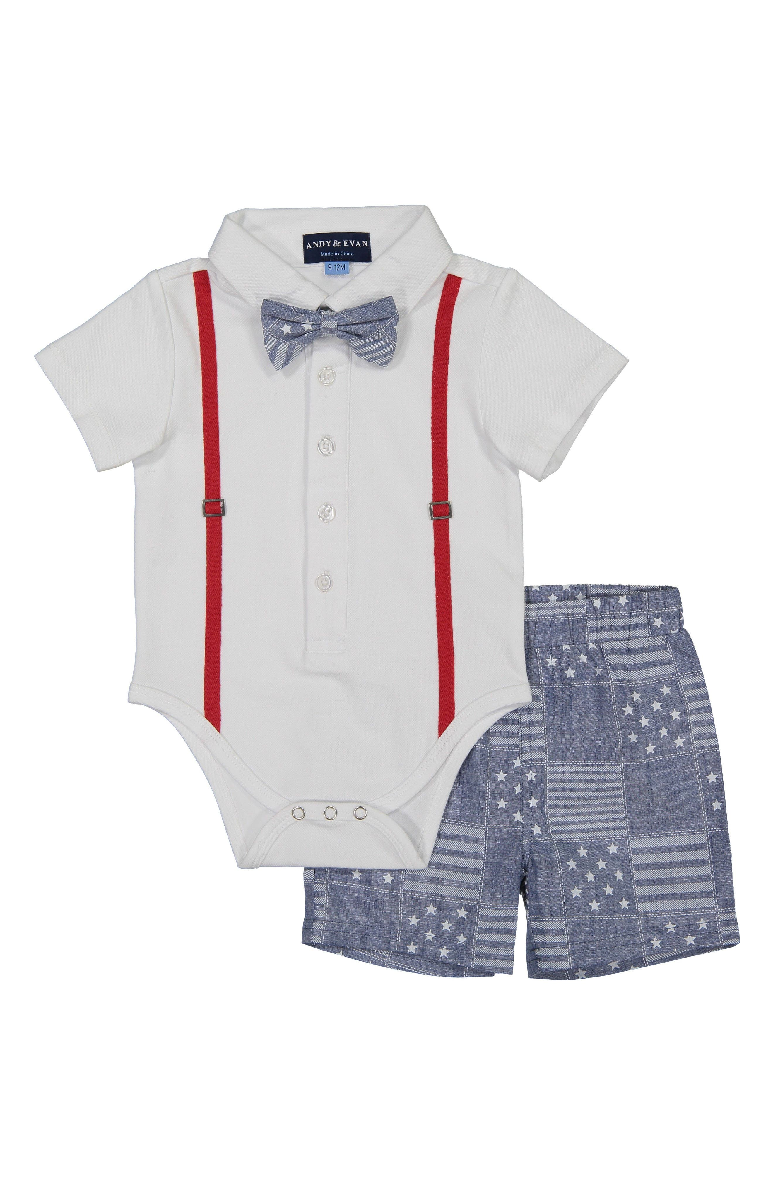 Andy & Evan All-American Polo, Bow Tie & Shorts Set (Baby Boys)