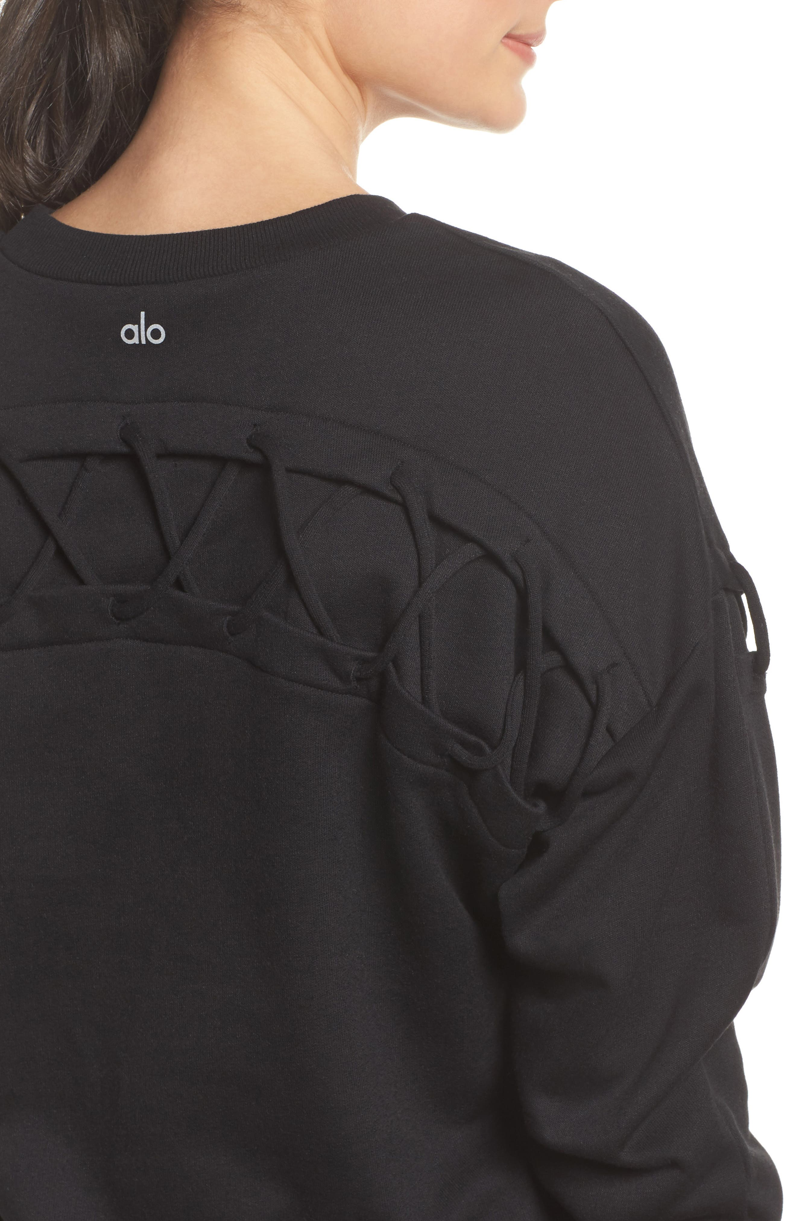 Lattice Long Sleeve Pullover,                             Alternate thumbnail 4, color,                             Black