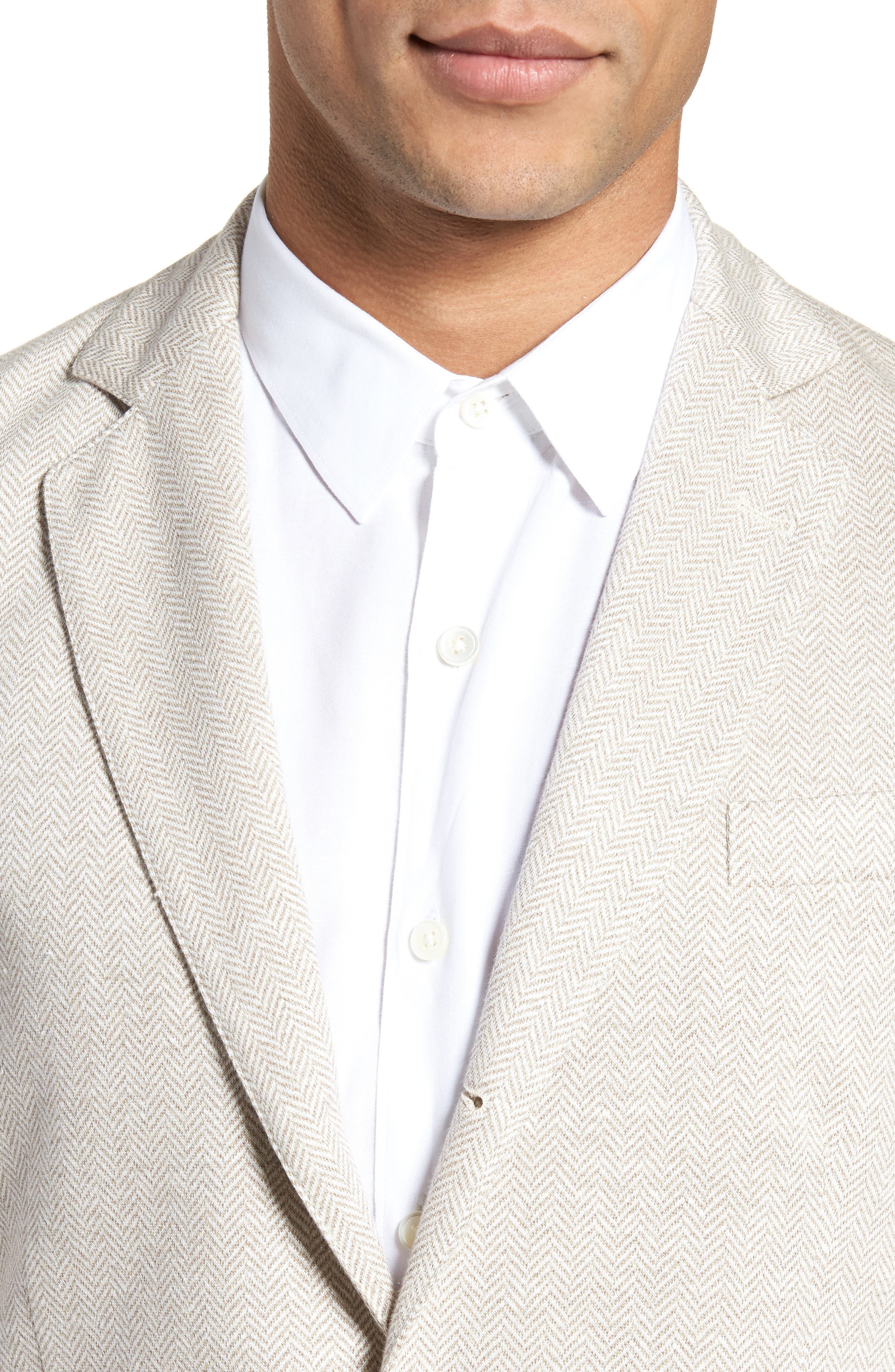 Trim Fit Herringbone Linen & Cotton Jacket,                             Alternate thumbnail 4, color,                             Sand