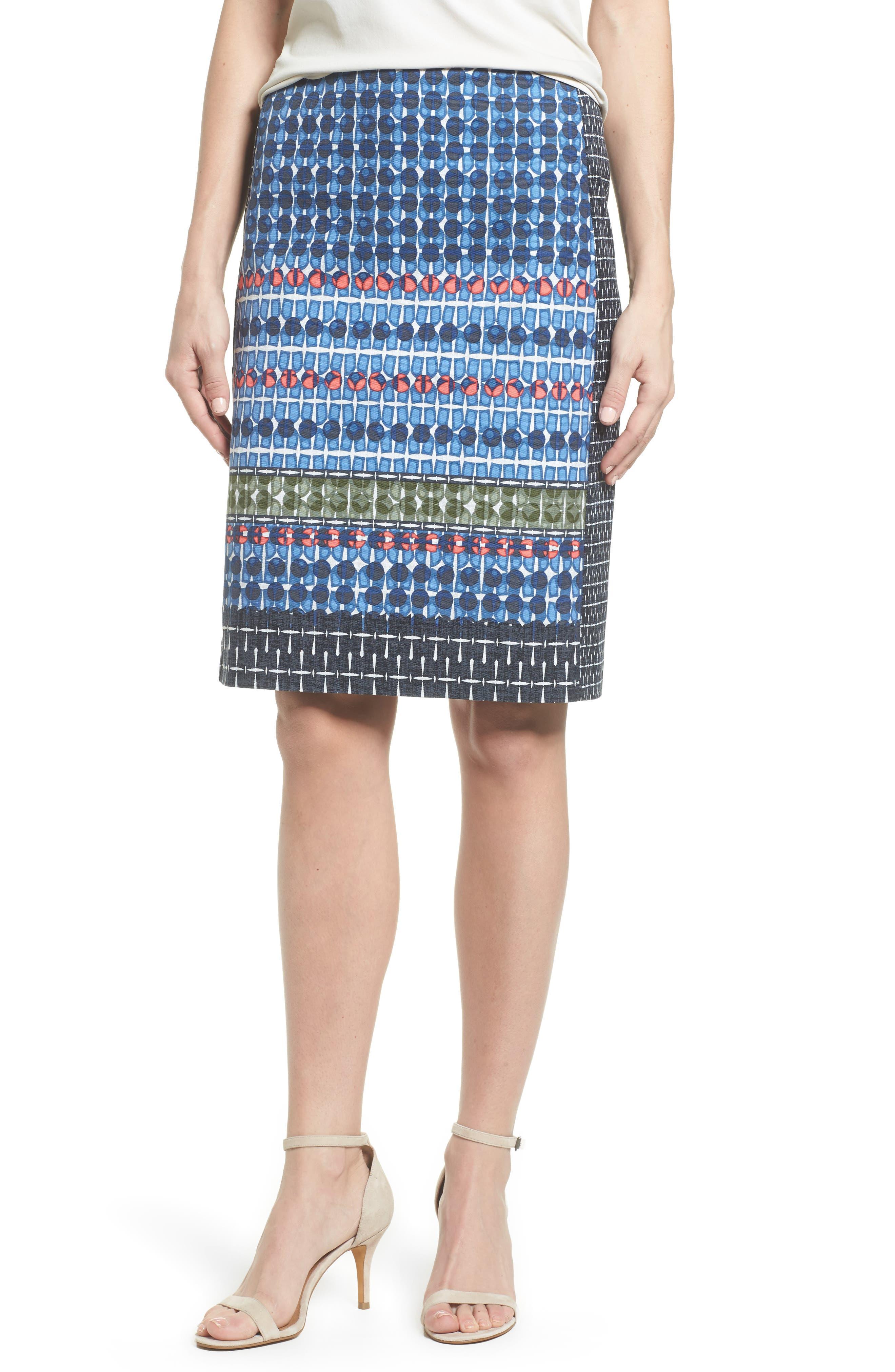 NIC + ZOE Tile Pencil Skirt,                             Main thumbnail 1, color,                             Multi