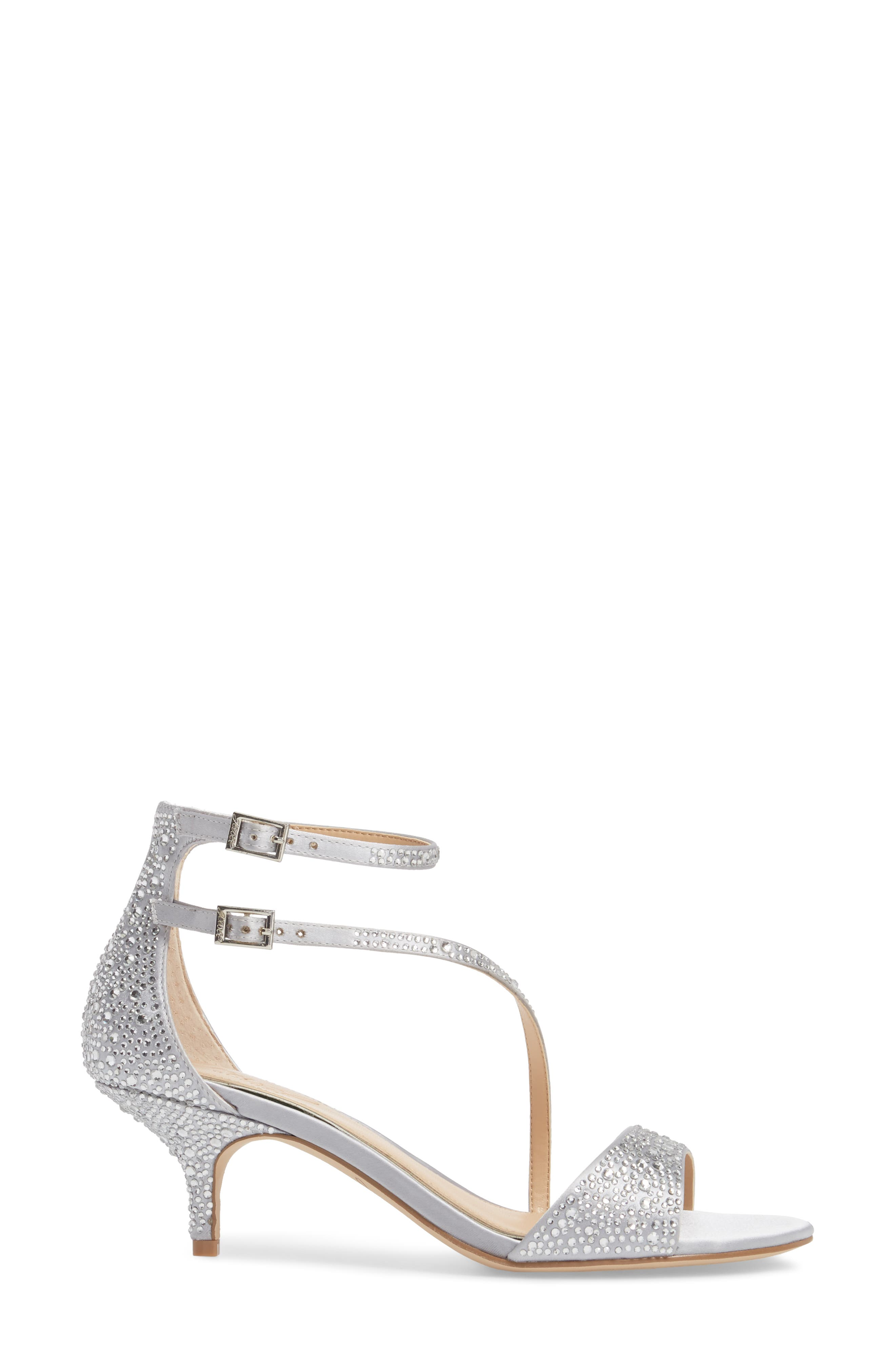 Tangerine Crystal Embellished Sandal,                             Alternate thumbnail 3, color,                             Silver Satin