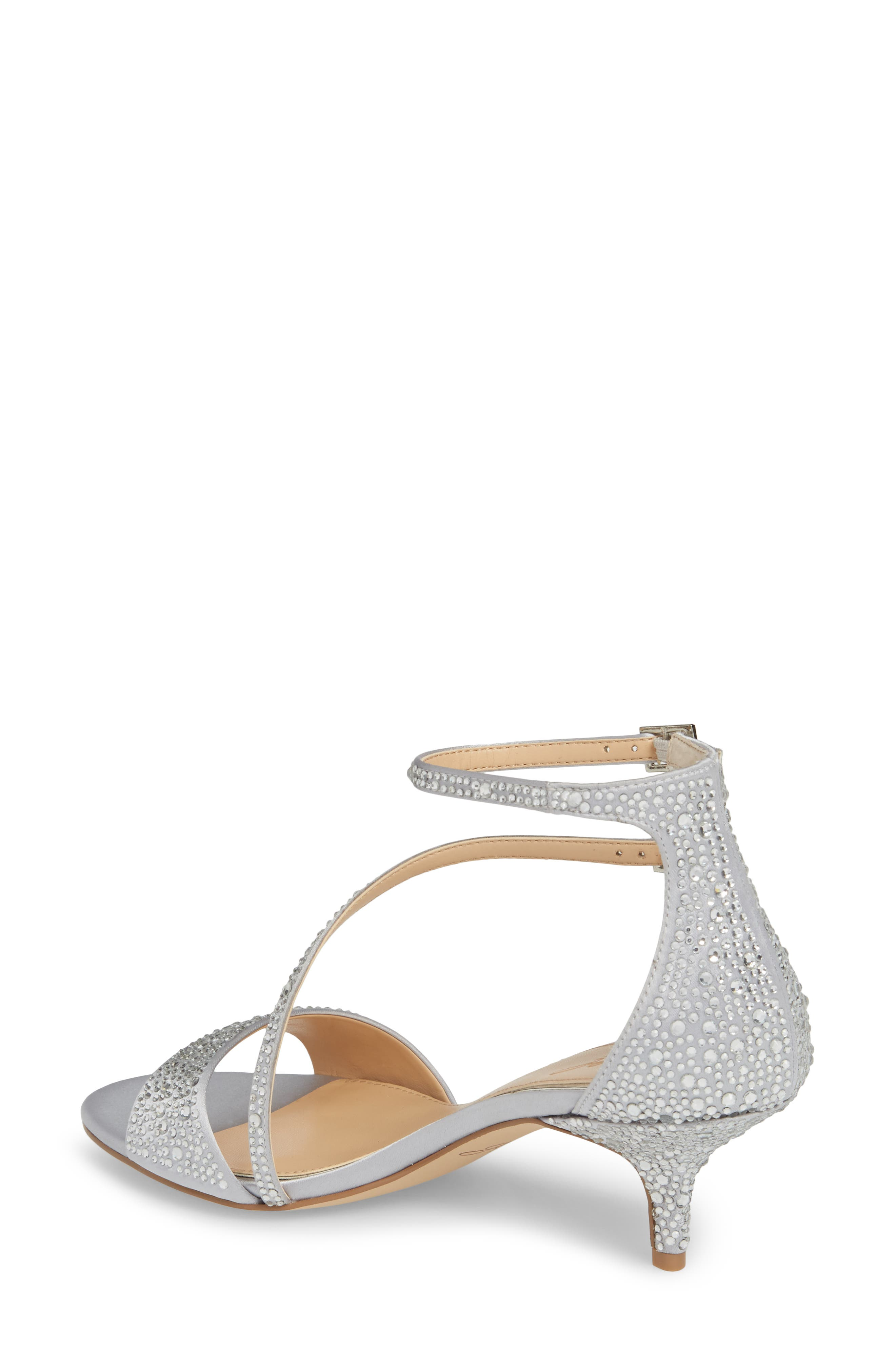 Tangerine Crystal Embellished Sandal,                             Alternate thumbnail 2, color,                             Silver Satin