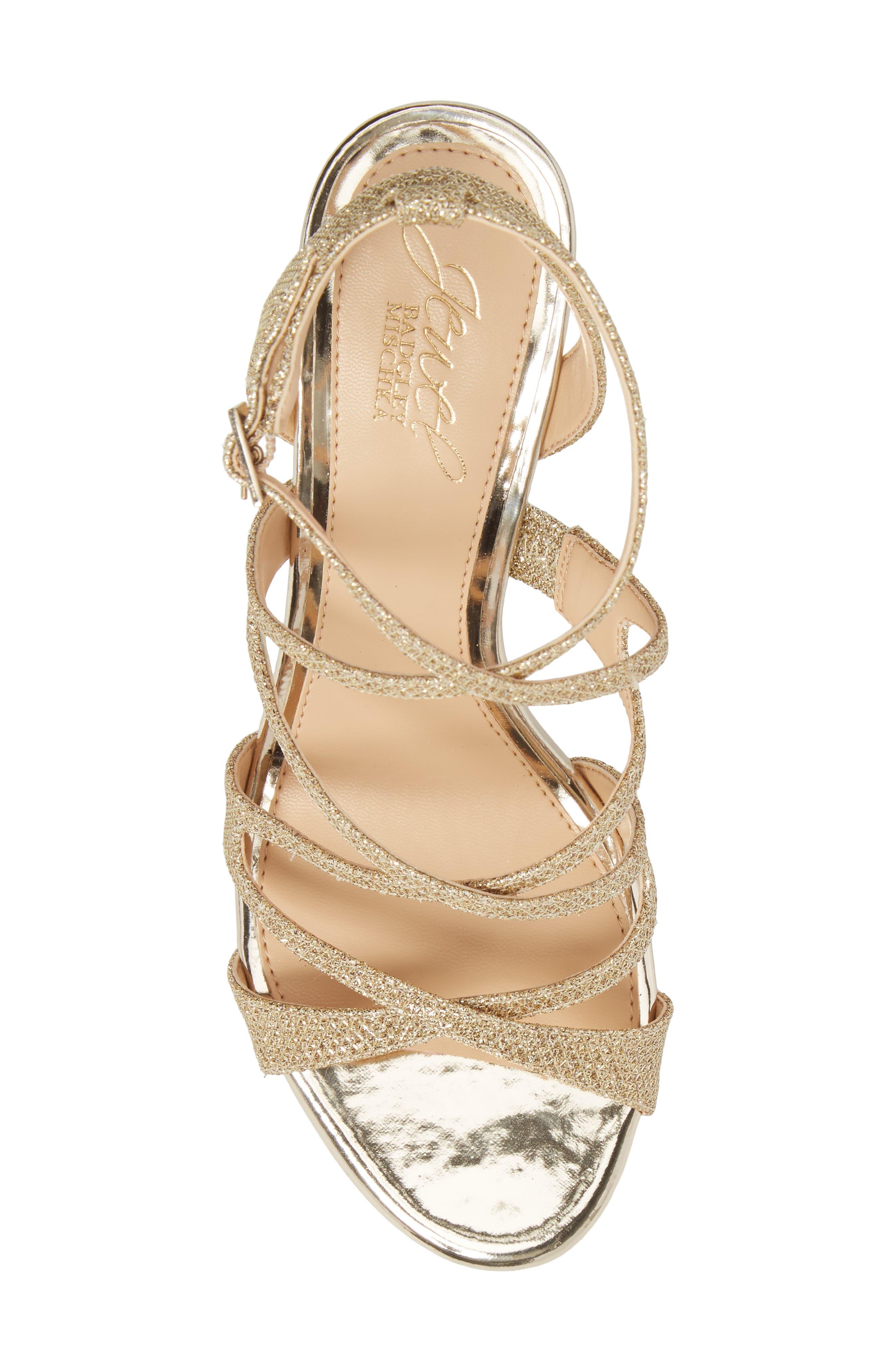 Tasha Glitter Sandal,                             Alternate thumbnail 5, color,                             Light Gold Glitter