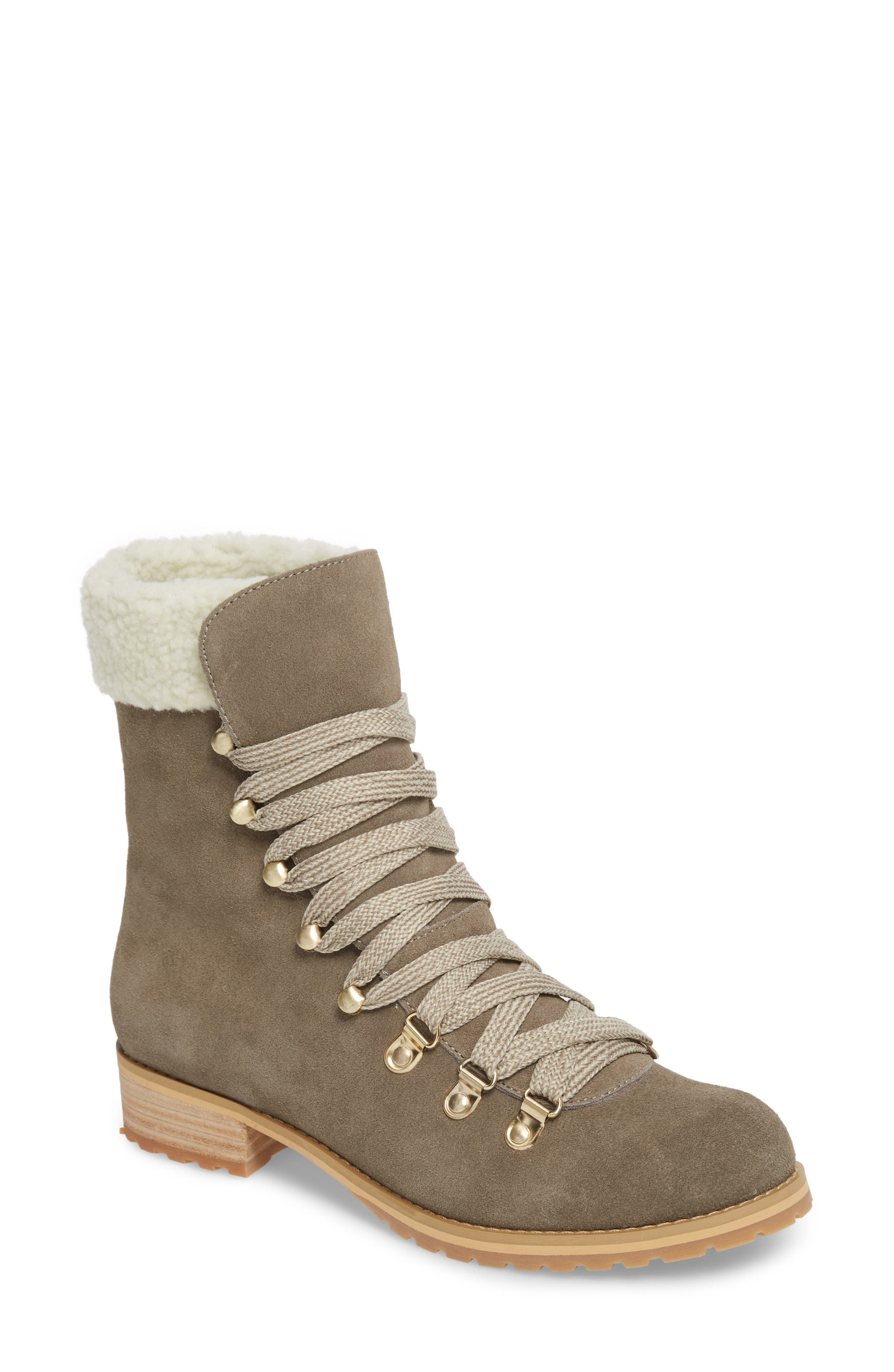 Faux Shearling Trim Ada Boot,                             Main thumbnail 1, color,                             Mushroom