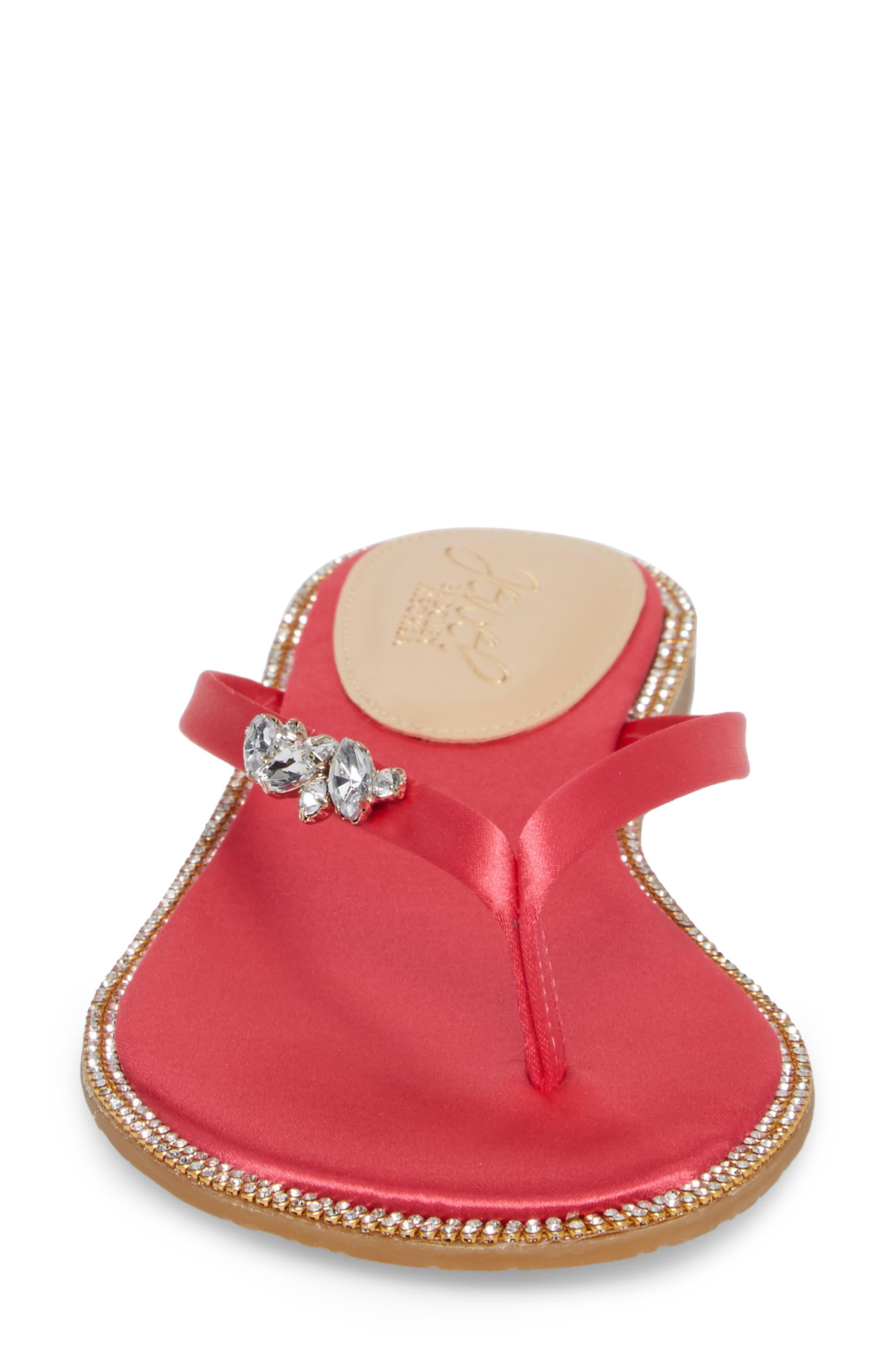Thalia Crystal Embellished Flip Flop,                             Alternate thumbnail 4, color,                             Pink Leather