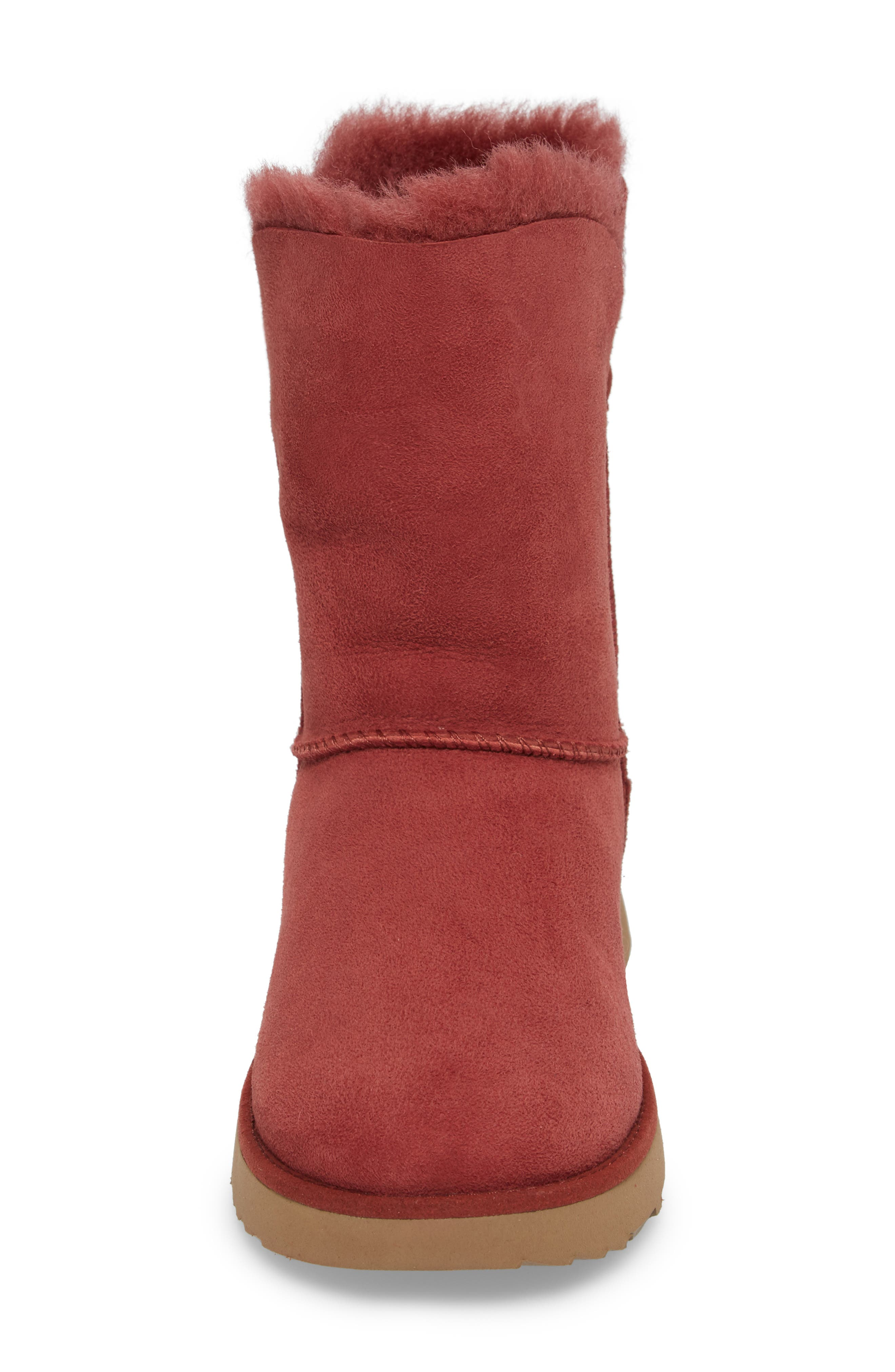 Classic Cuff Short Boot,                             Alternate thumbnail 4, color,                             Red Clay Suede