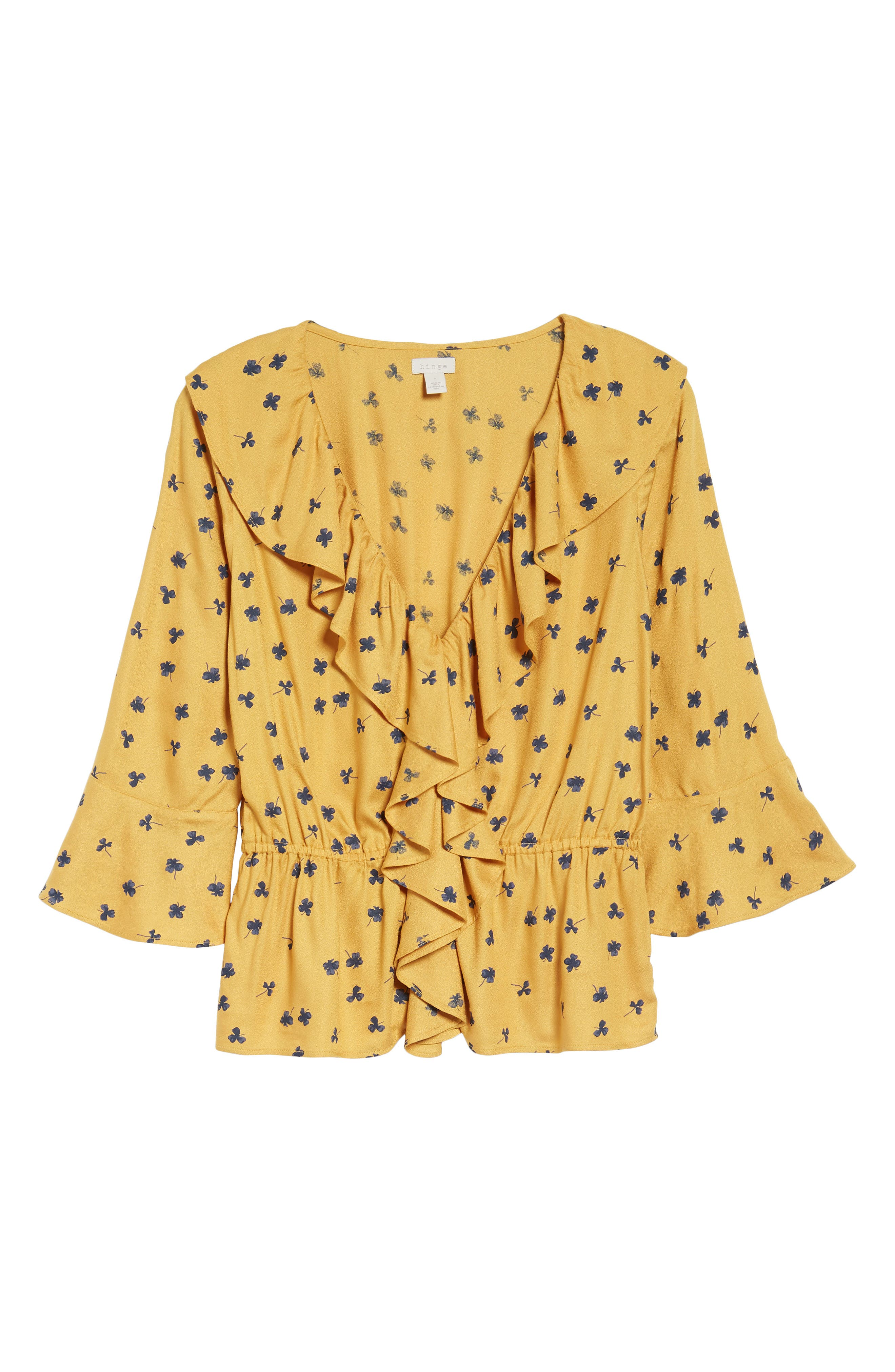 Print Cascade Ruffle Top,                             Alternate thumbnail 6, color,                             Yellow Mineral Lucky Clover