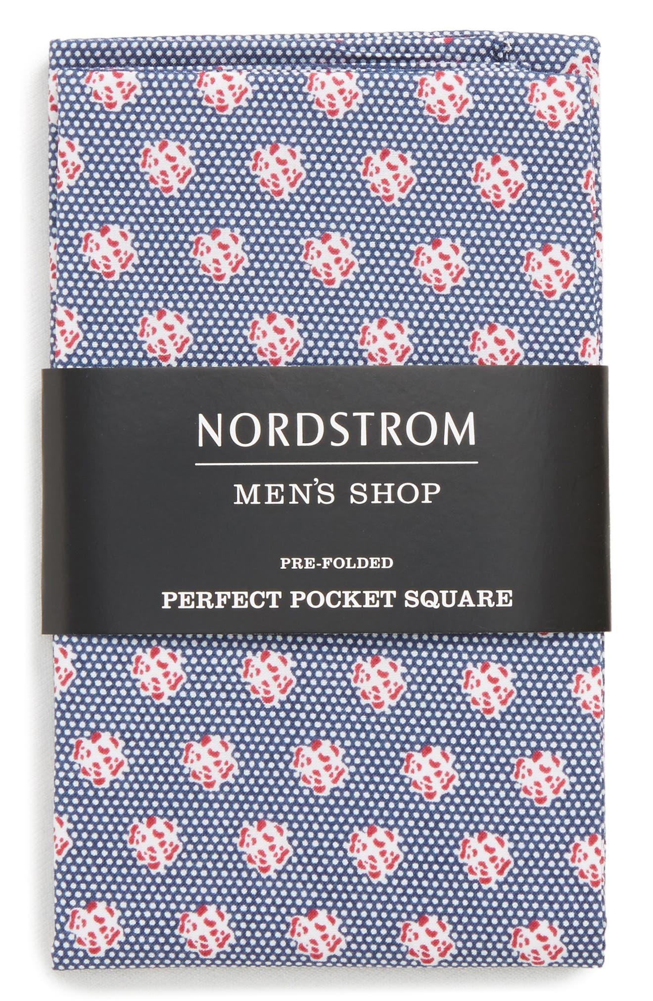 The Perfect Pre-Folded Pocket Square,                             Alternate thumbnail 3, color,                             Blue Talon Floral