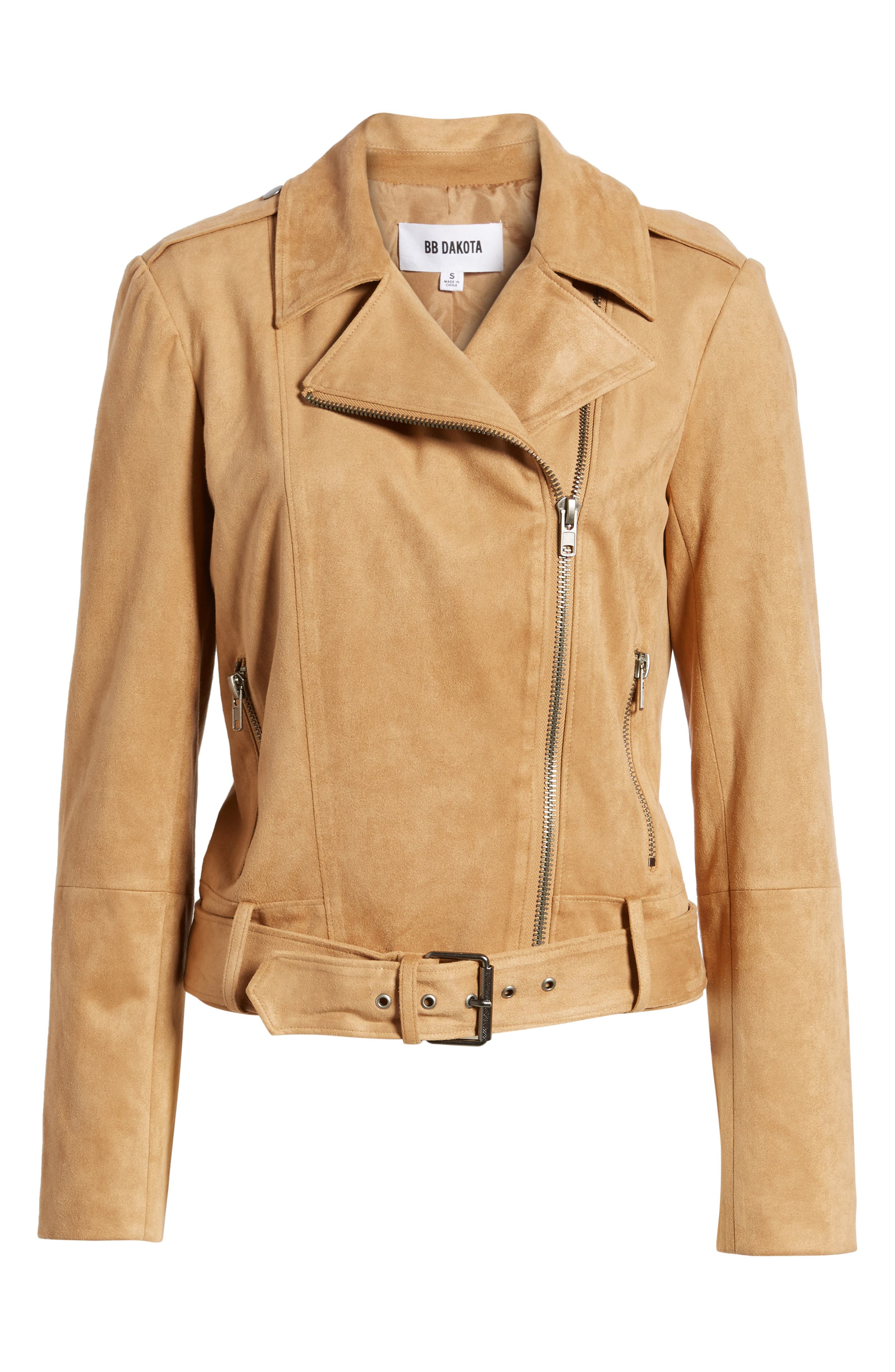 Nathan Faux Suede Jacket,                             Alternate thumbnail 6, color,                             Whiskey