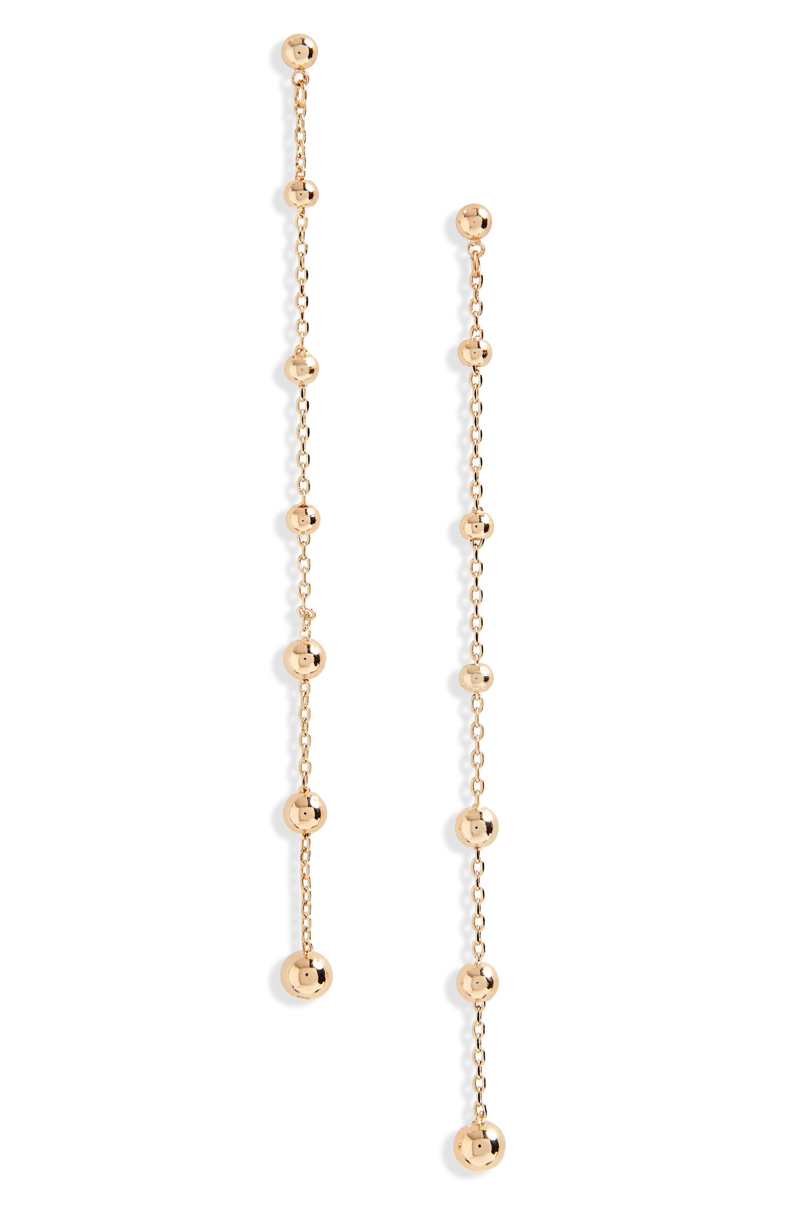 Chain & Ball Drop Earrings,                         Main,                         color, Gold
