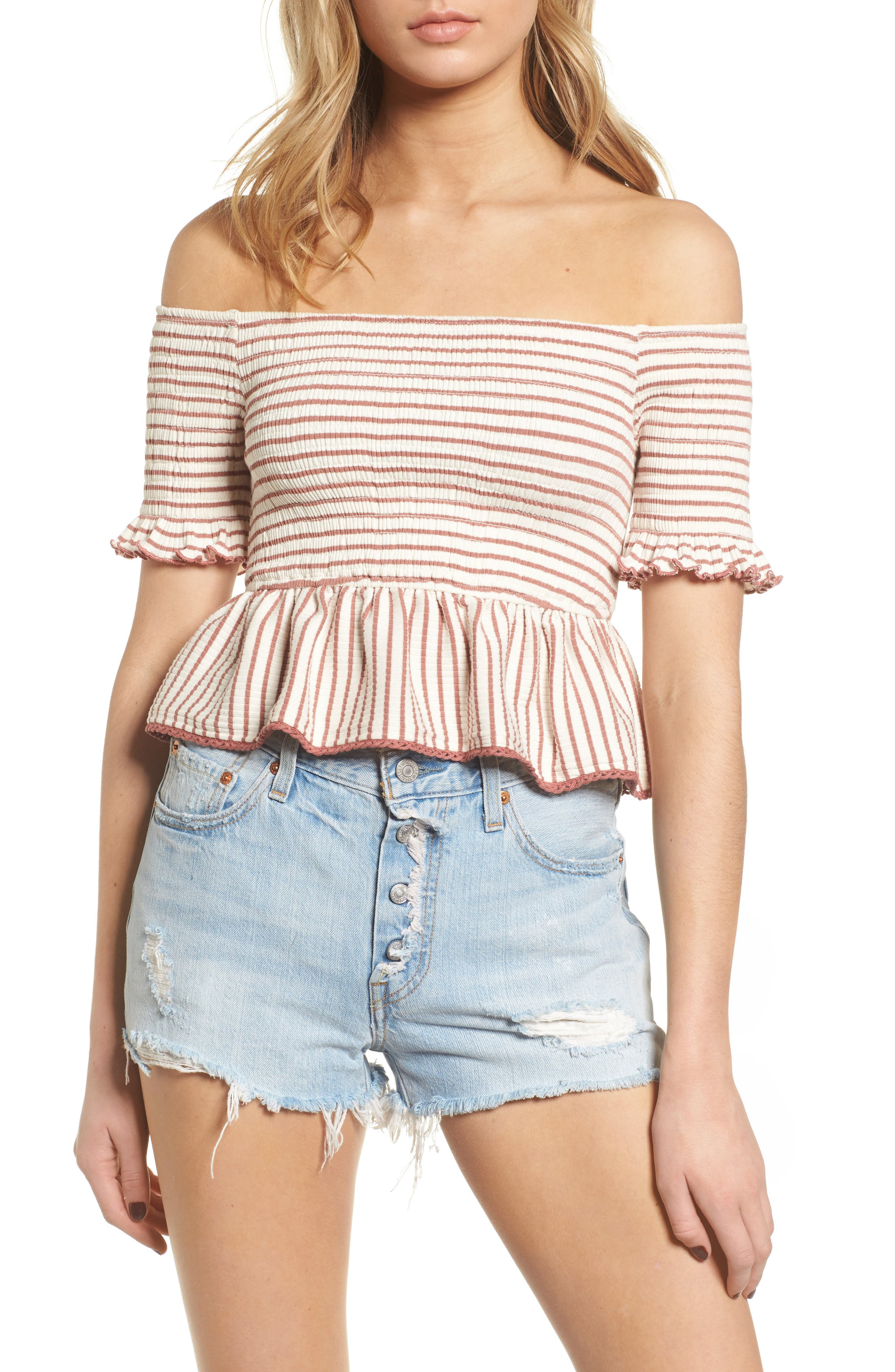 Off the Shoulder Stripe Peplum Top,                         Main,                         color, Rose/ Ivory Stripe