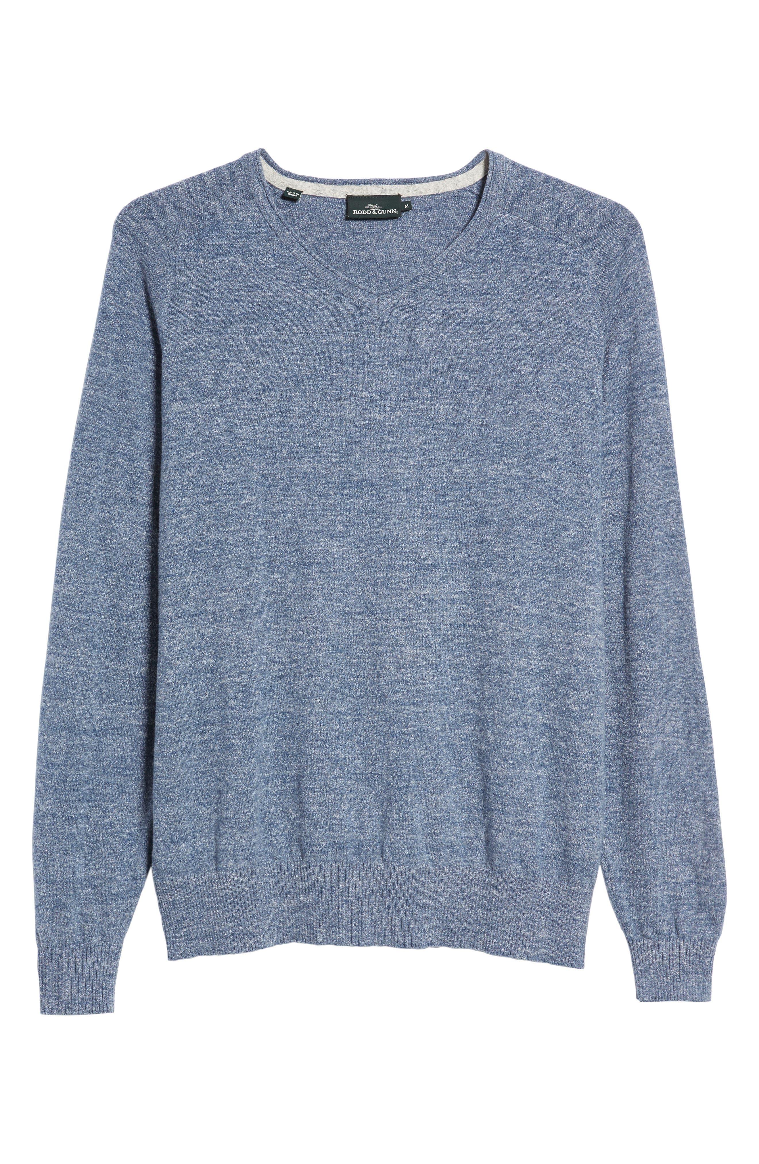 Arbors Cotton V-Neck Sweater,                             Alternate thumbnail 6, color,                             Riviera