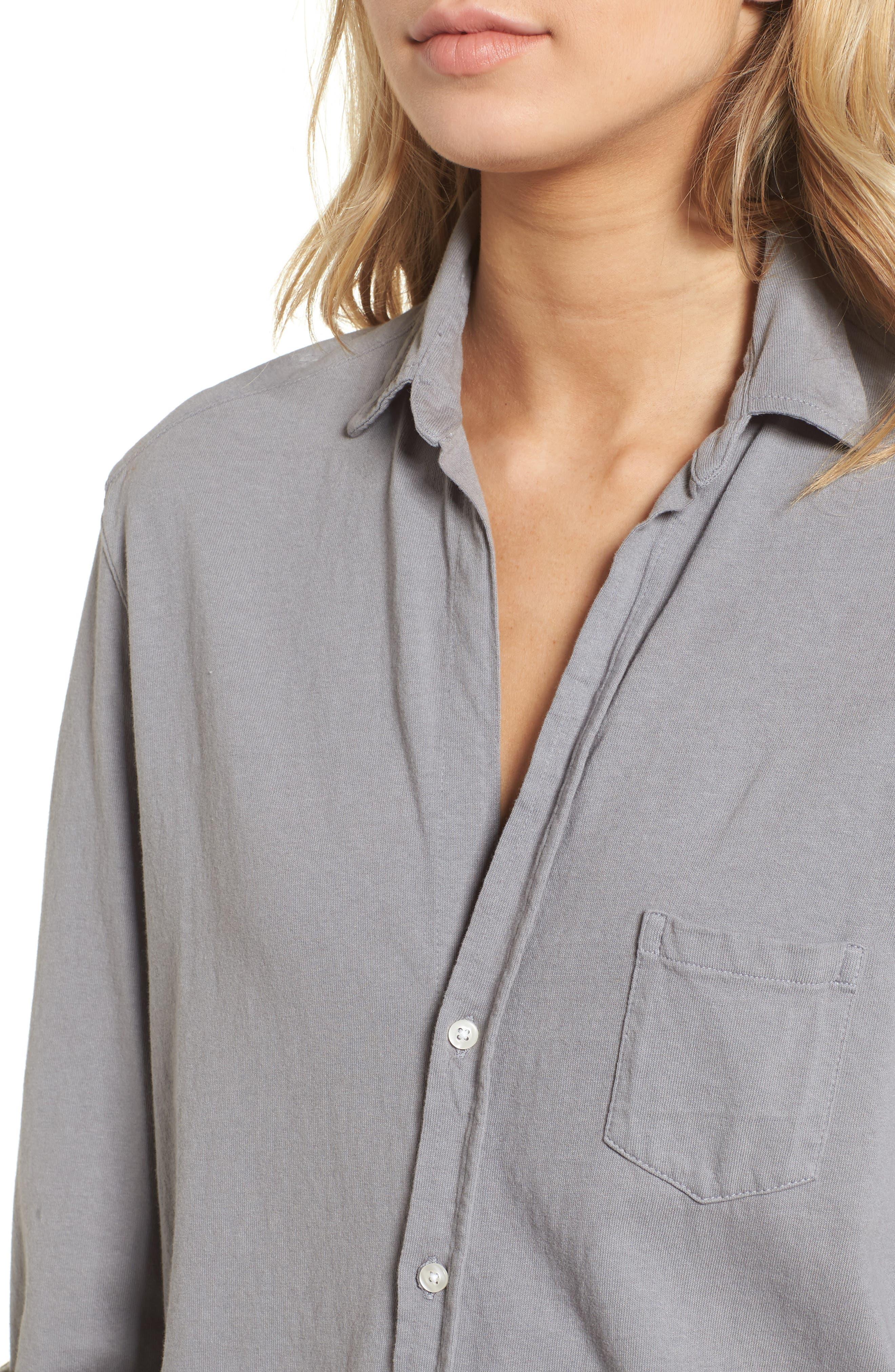 Tee Lab Knit Button Down Shirt,                             Alternate thumbnail 4, color,                             Shadow