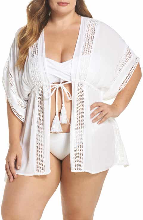 Elan Crochet Cover-Up Tunic (Plus Size)