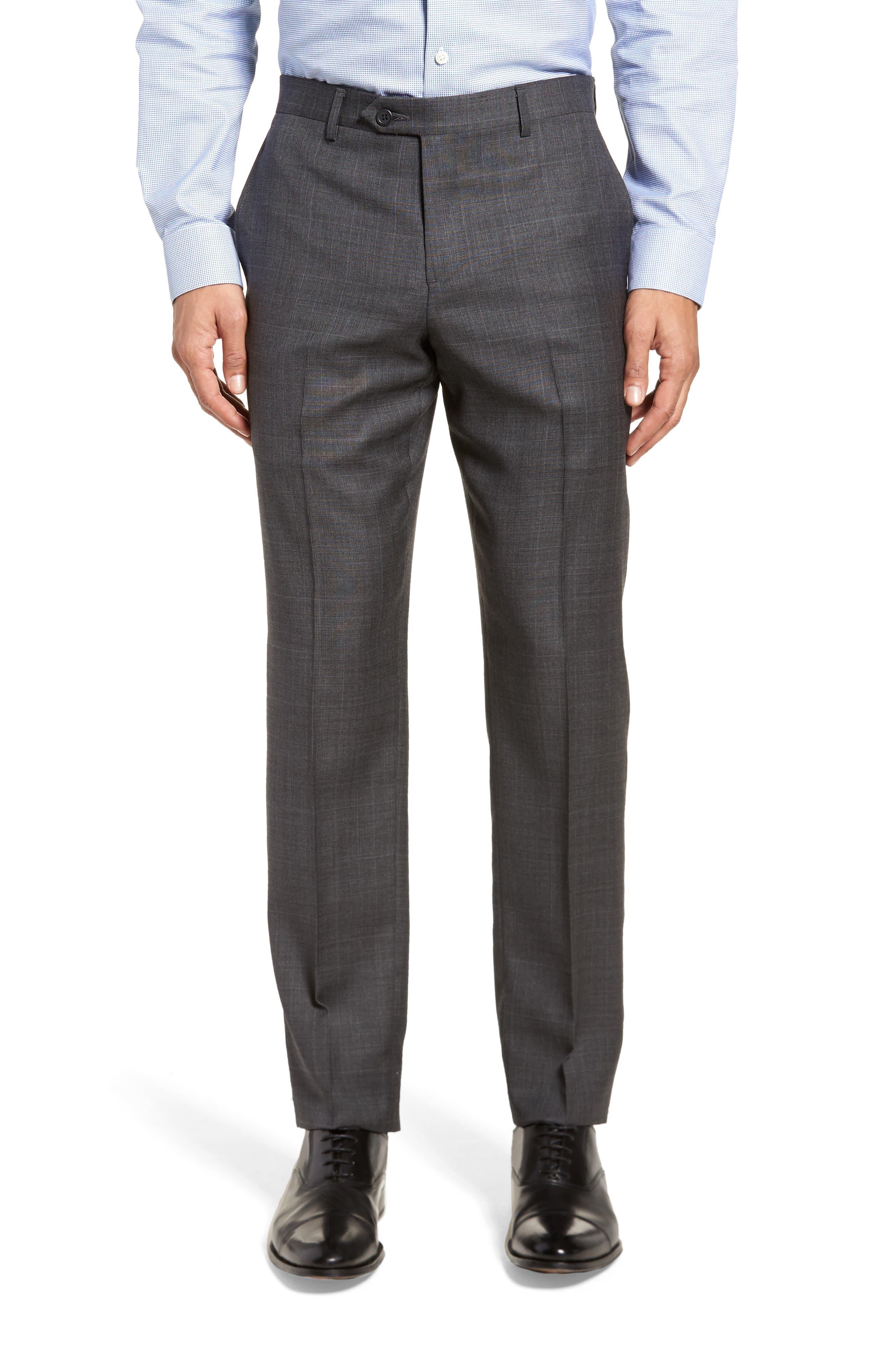 Extra Trim Fit Plaid Wool Suit,                             Alternate thumbnail 6, color,                             Grey