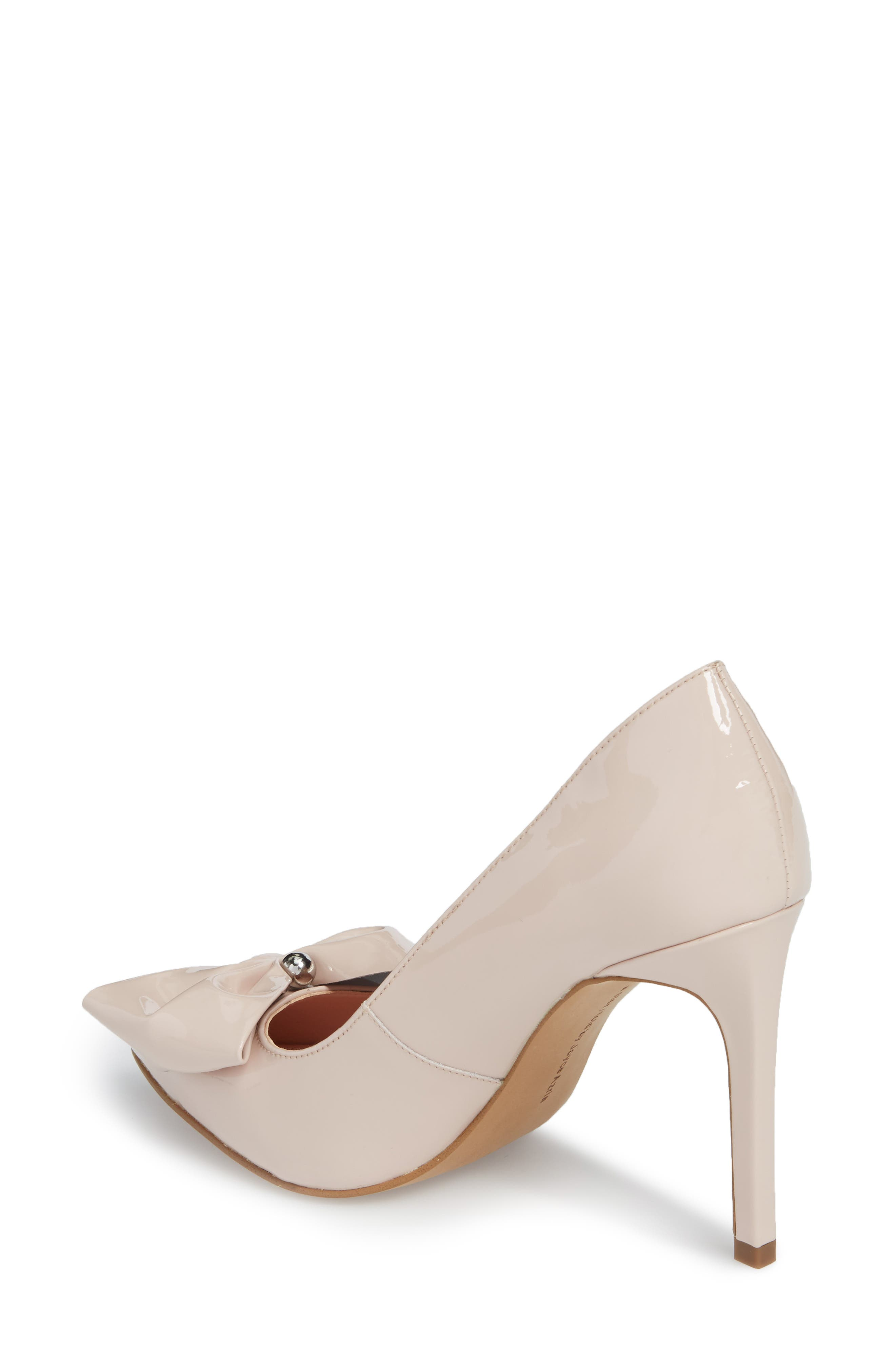 Bow Pointy Toe Pump,                             Alternate thumbnail 2, color,                             Avec Pink Leather