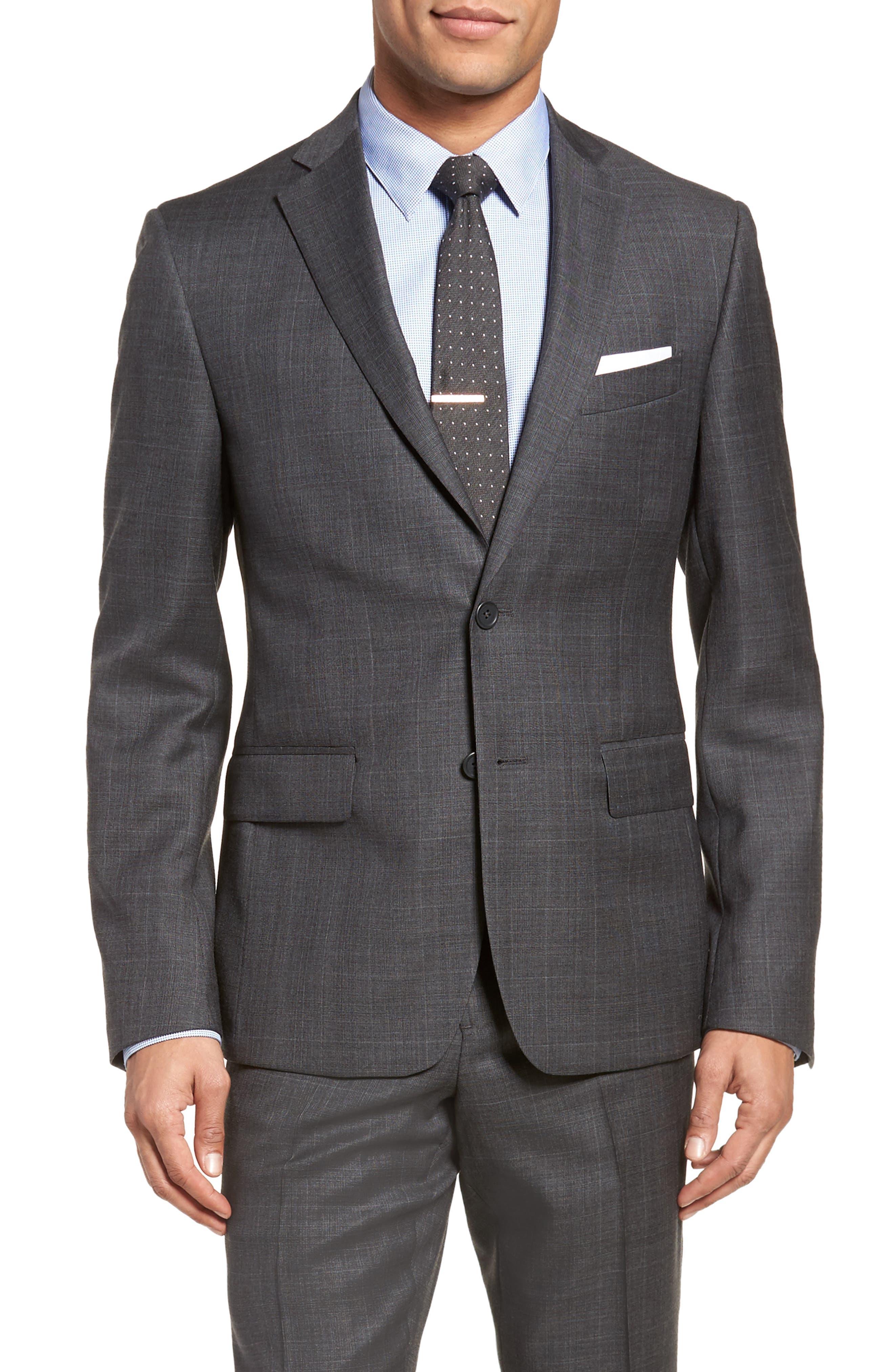 Extra Trim Fit Plaid Wool Suit,                             Alternate thumbnail 5, color,                             Grey
