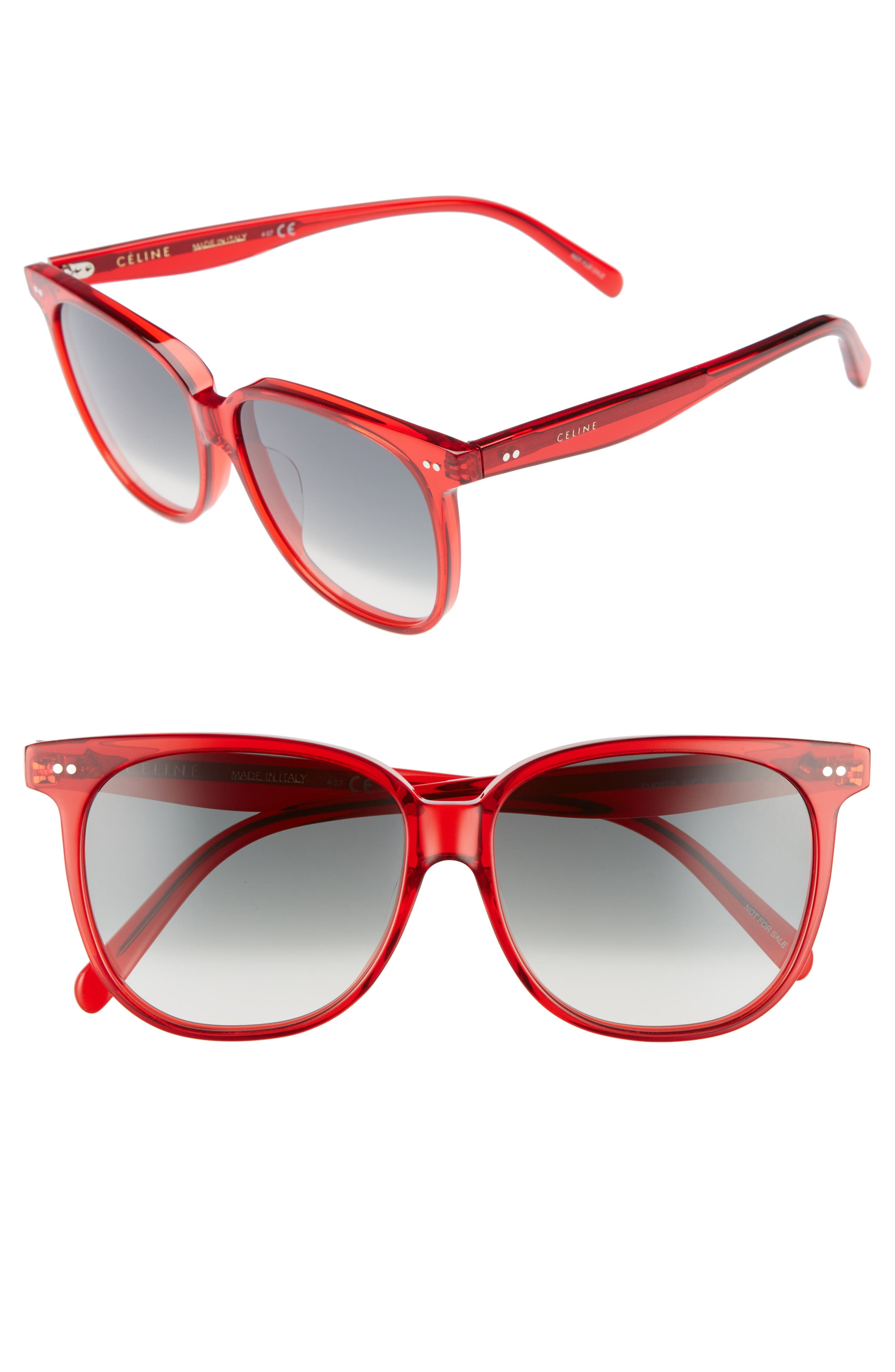 Special Fit 58mm Square Sunglasses,                             Main thumbnail 1, color,                             Red/ Green
