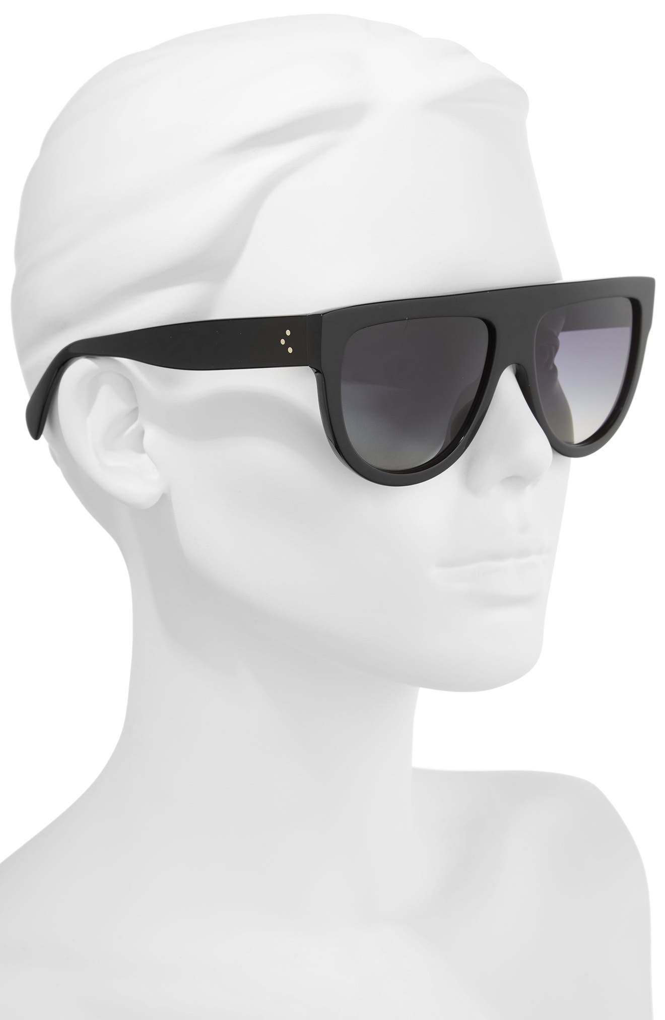 58mm Pilot Sunglasses,                             Alternate thumbnail 2, color,                             Black/ Smoke