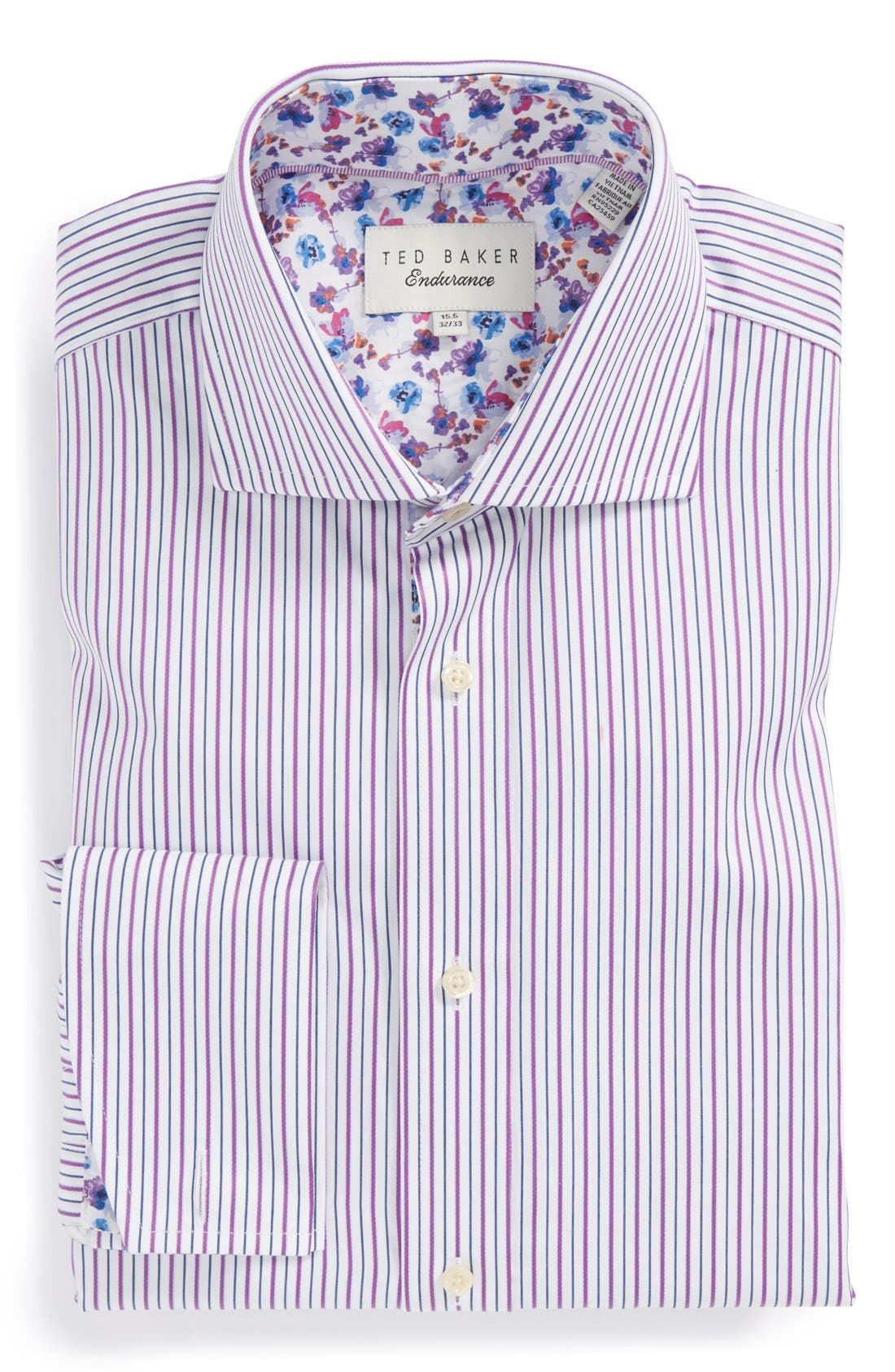 Main Image - Ted Baker London 'Takeley' Trim Fit Stripe French Cuff Dress Shirt