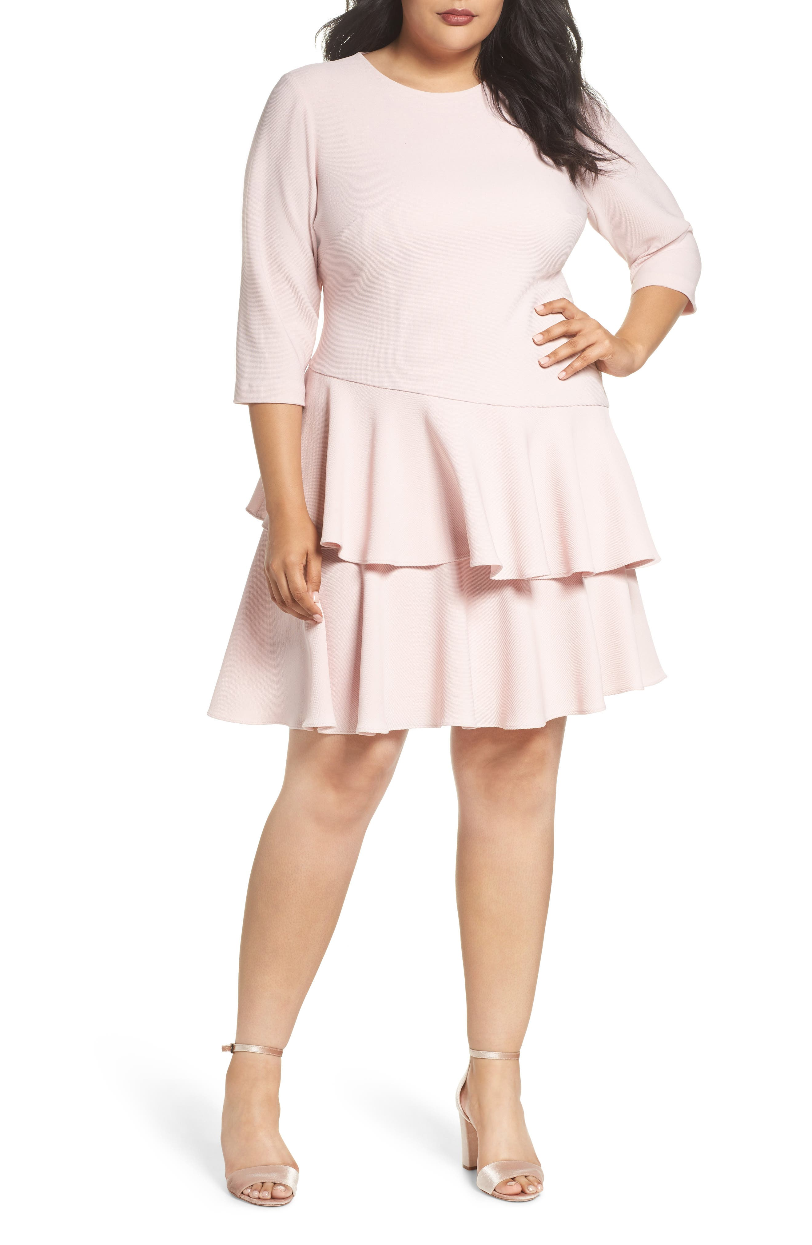 Alternate Image 1 Selected - Eliza J Tiered Ruffle A-Line Dress (Plus Size)