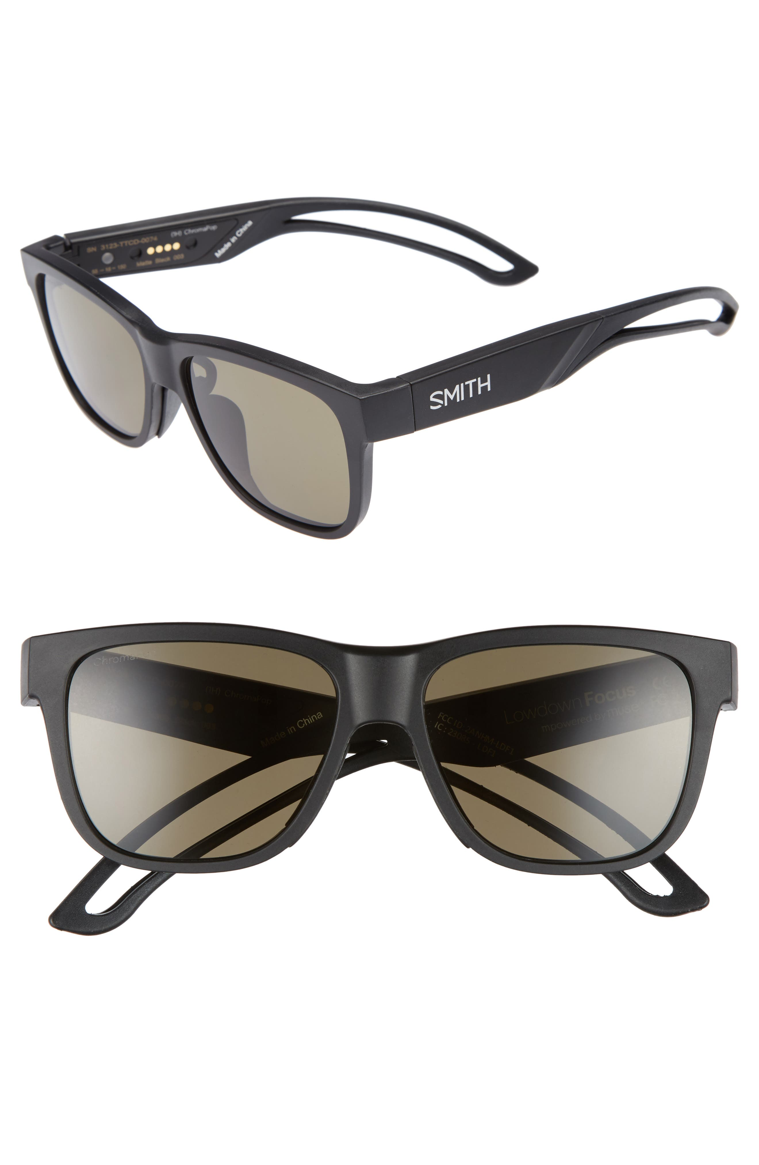 Lowdown Focus 56mm ChromaPop Sunglasses,                             Main thumbnail 1, color,                             Matte Black/ Grey Green
