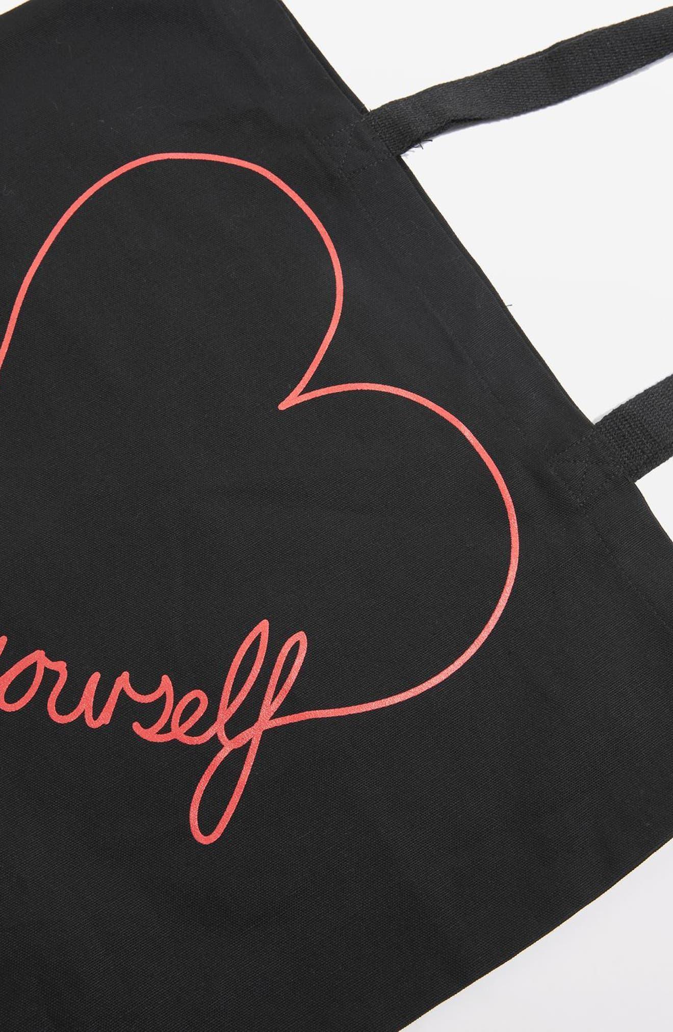 Love Yourself Canvas Tote Bag,                             Alternate thumbnail 4, color,                             Black Multi