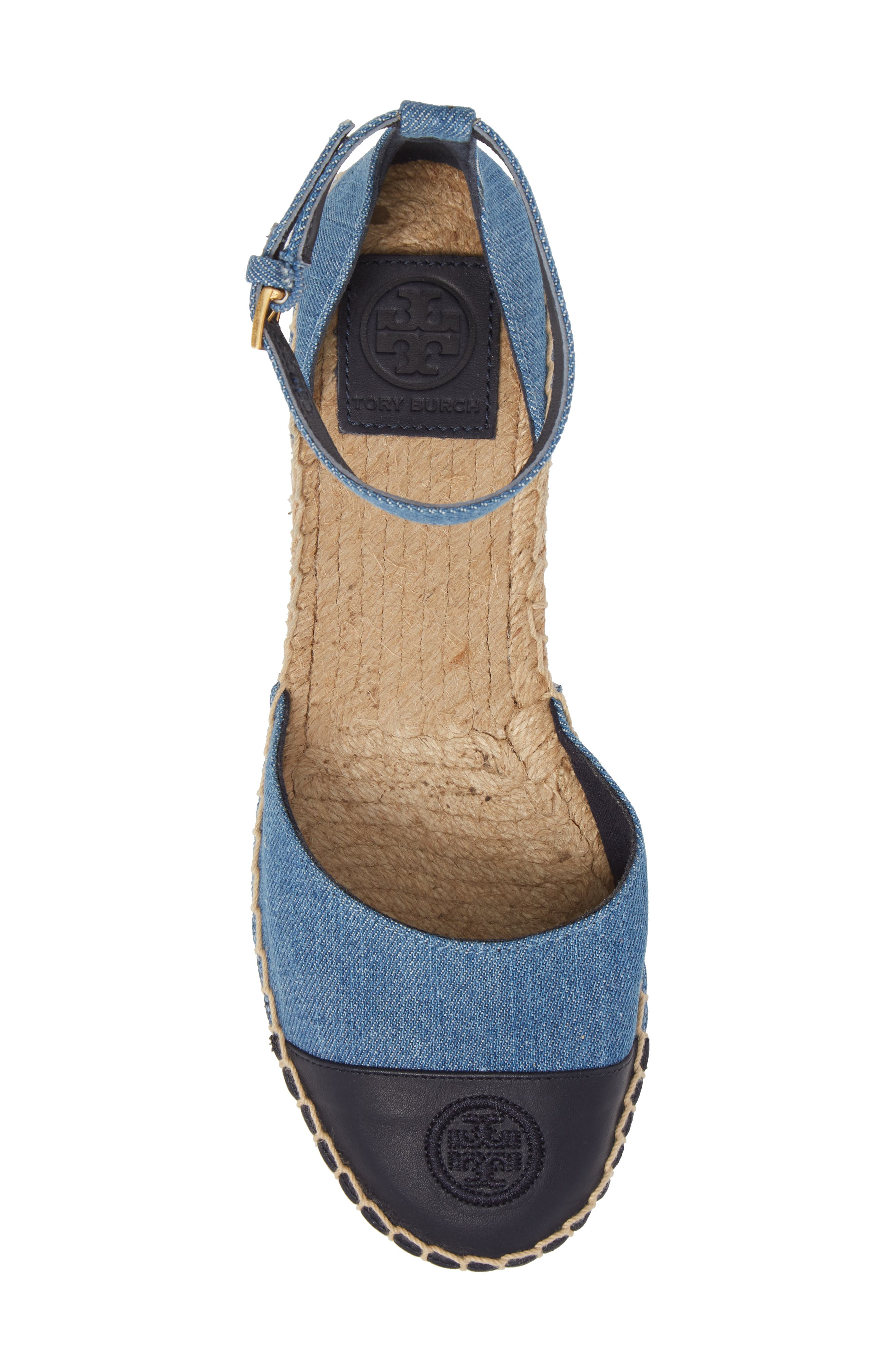 Ankle Strap Espadrille,                             Alternate thumbnail 5, color,                             Denim Chambray/ Perfect Navy