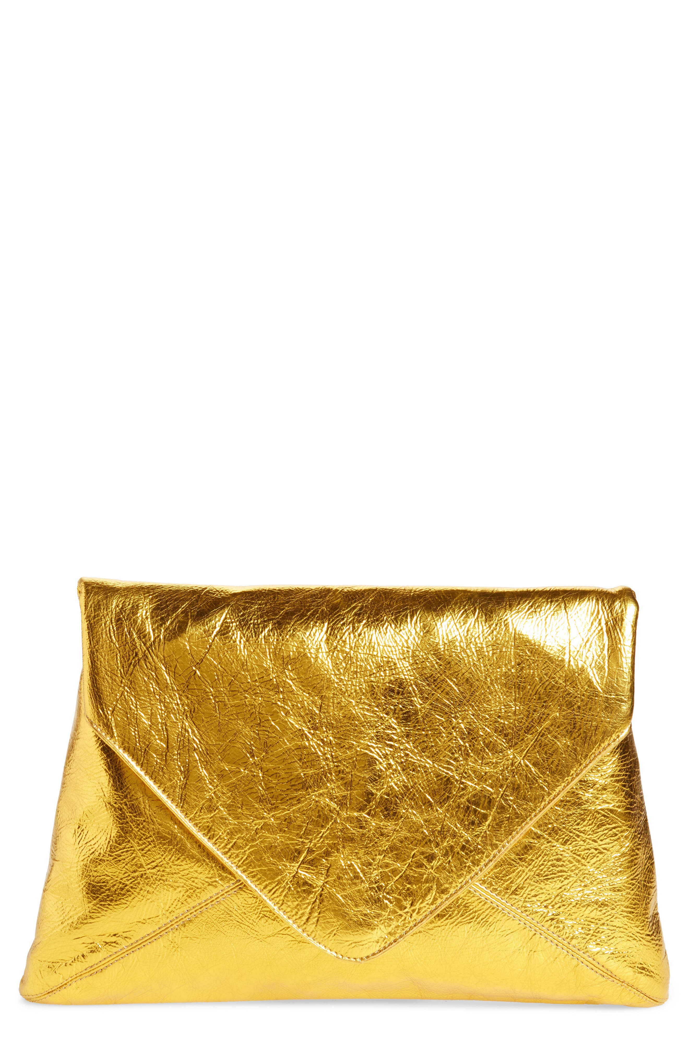 Metallic Leather Envelope Clutch,                         Main,                         color, Gold
