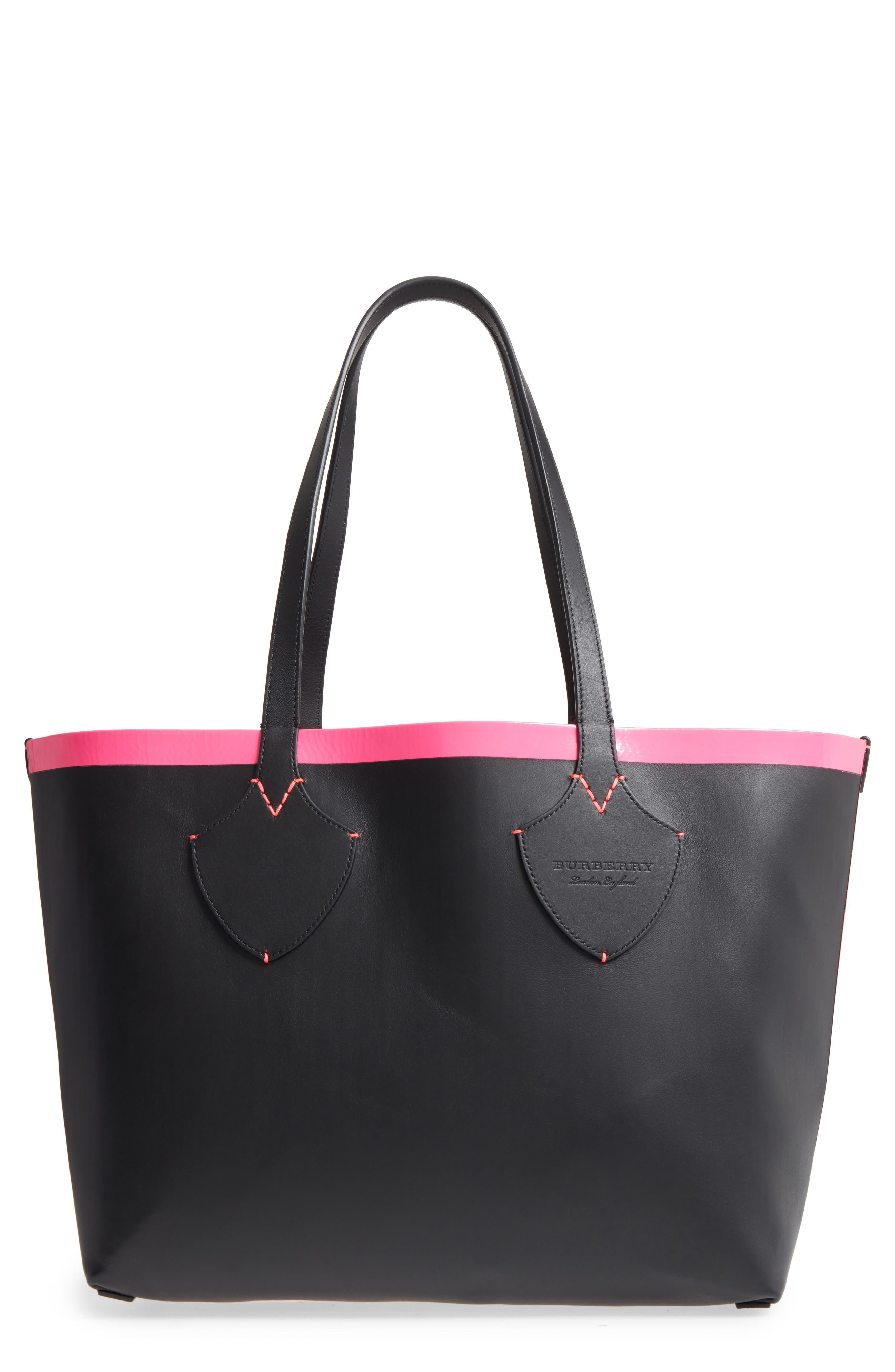 Medium Reversible Check Canvas & Leather Tote,                             Main thumbnail 1, color,                             Black/ Neon Pink