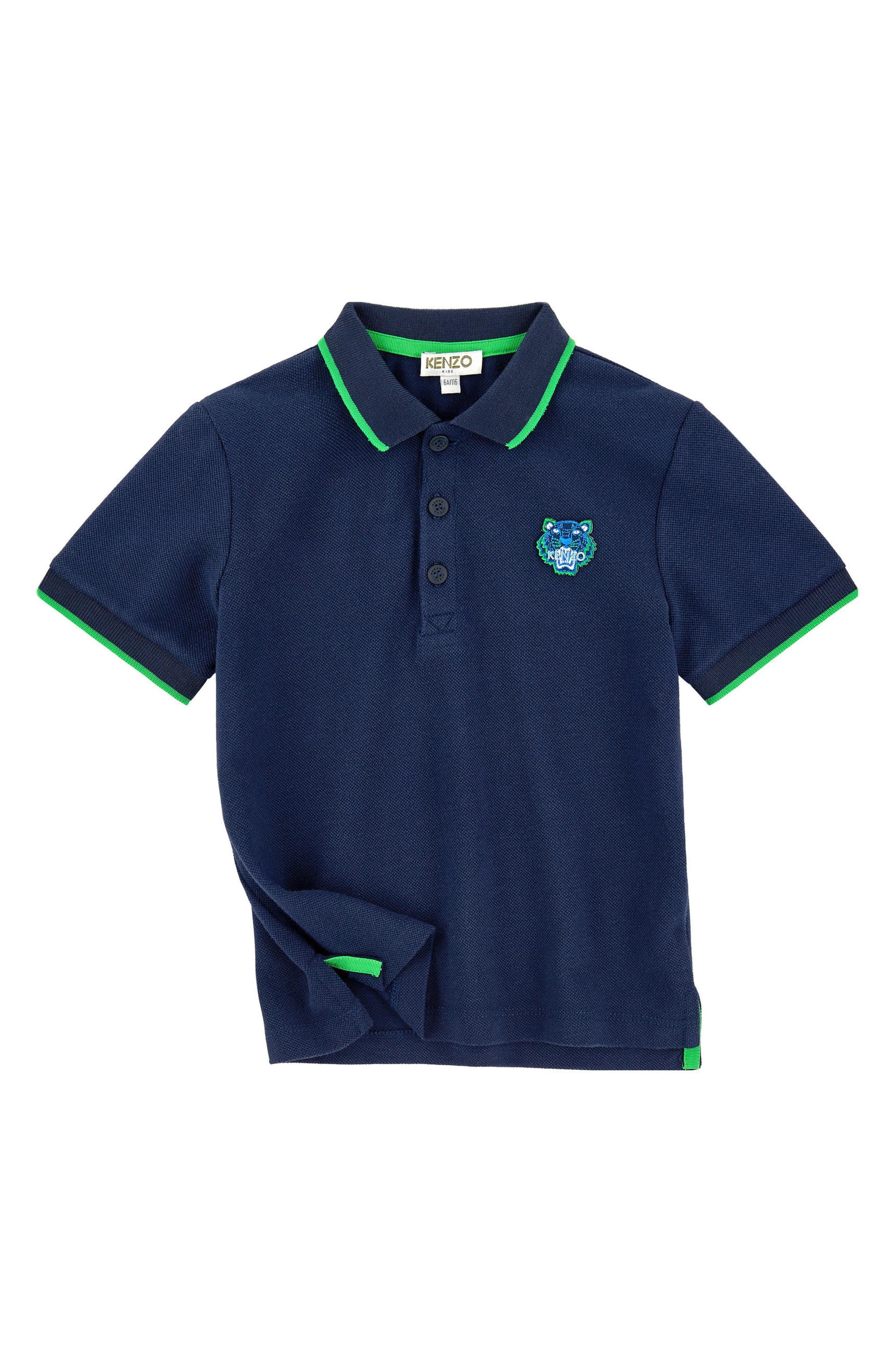 Tiger Appliqué Tipped Piqué Polo,                         Main,                         color, Navy Blue