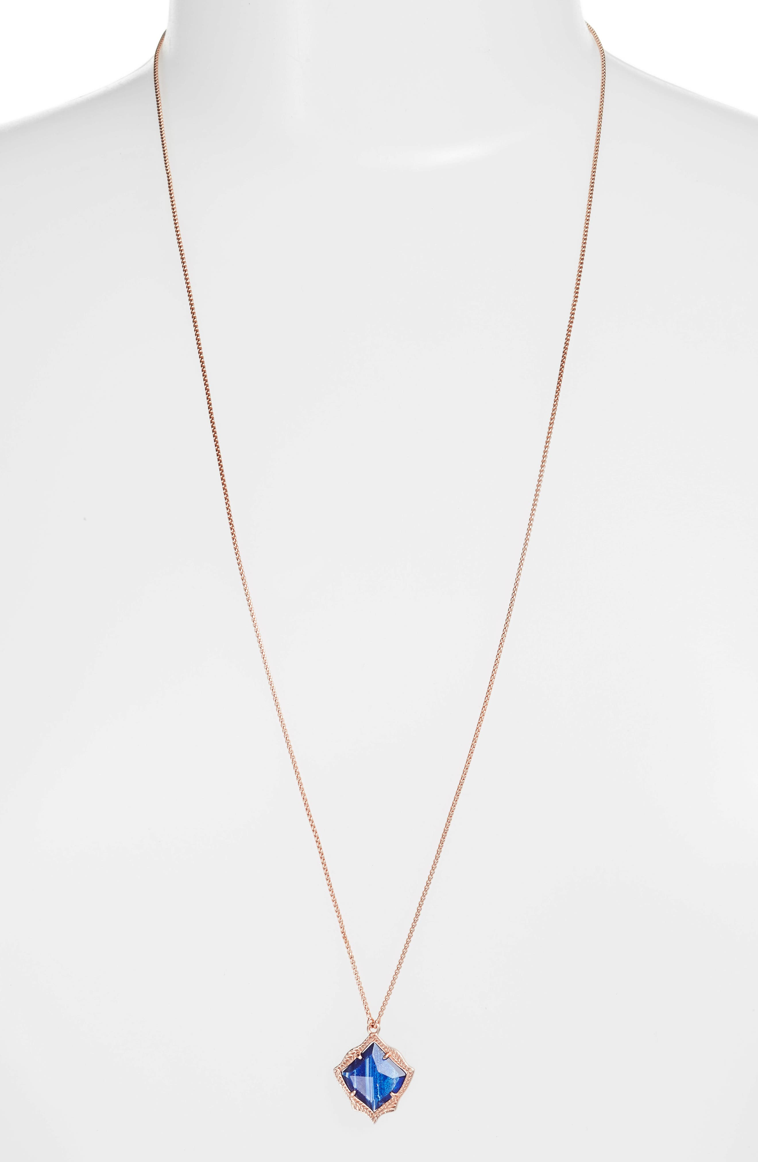Kacey Pendant Necklace,                             Main thumbnail 1, color,                             Navy Dusted Glass/ Rose Gold