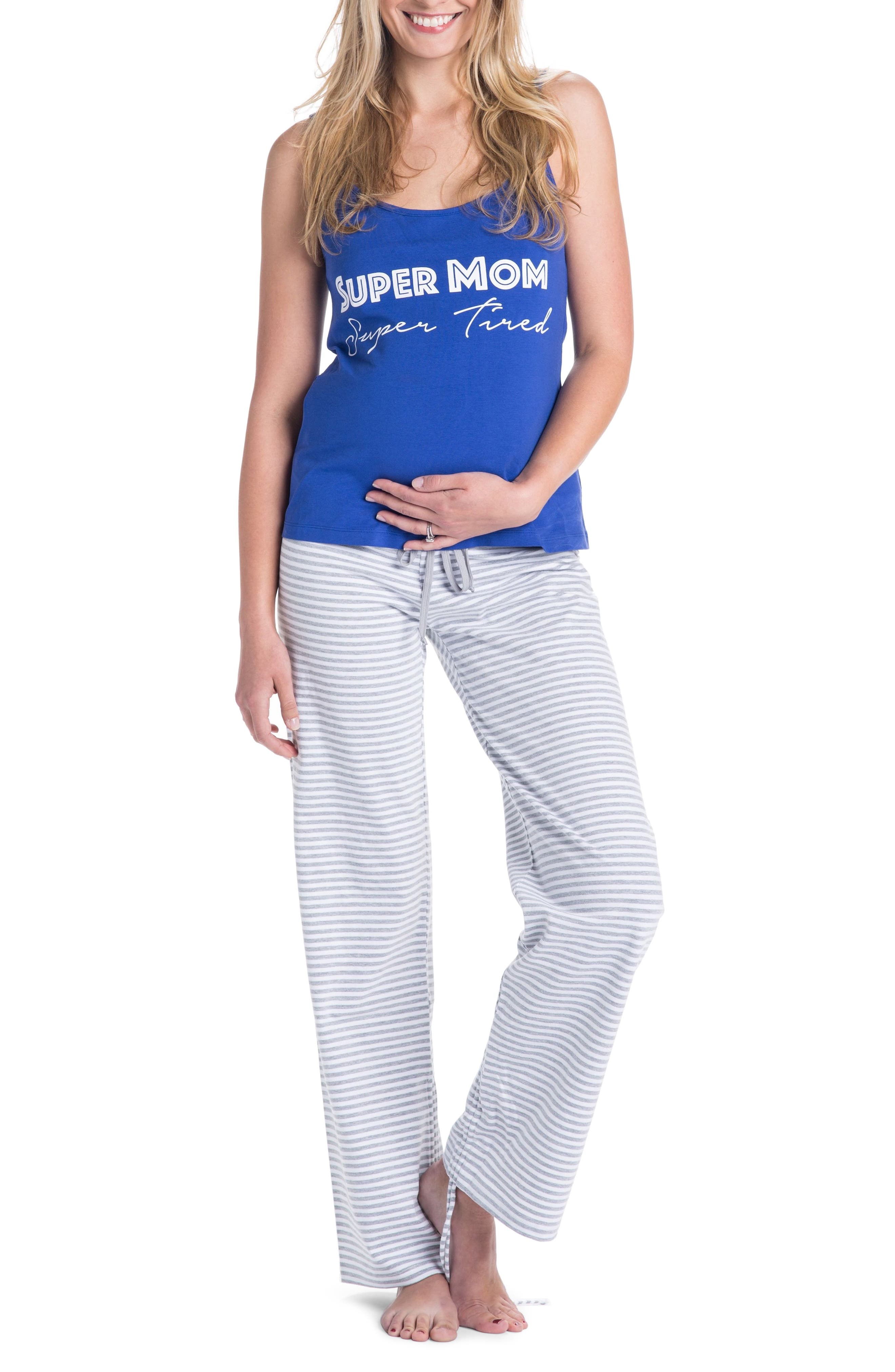 Trudy Super Mom Maternity/Nursing Pajamas,                         Main,                         color, Navy Blue/ Gray/ White Stripes