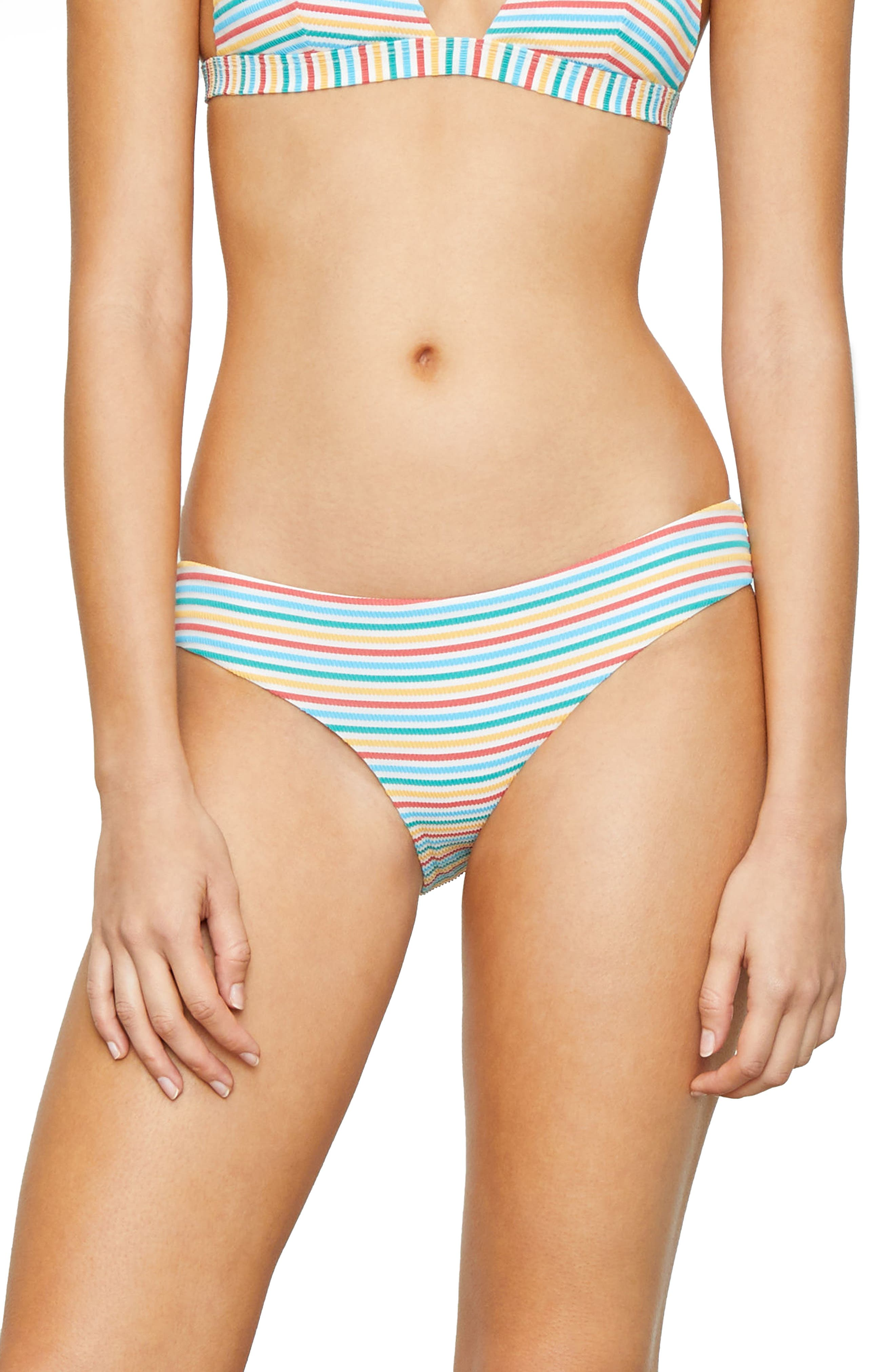Stripe Bikini Bottoms,                         Main,                         color, Yellow/ Blue/ Red