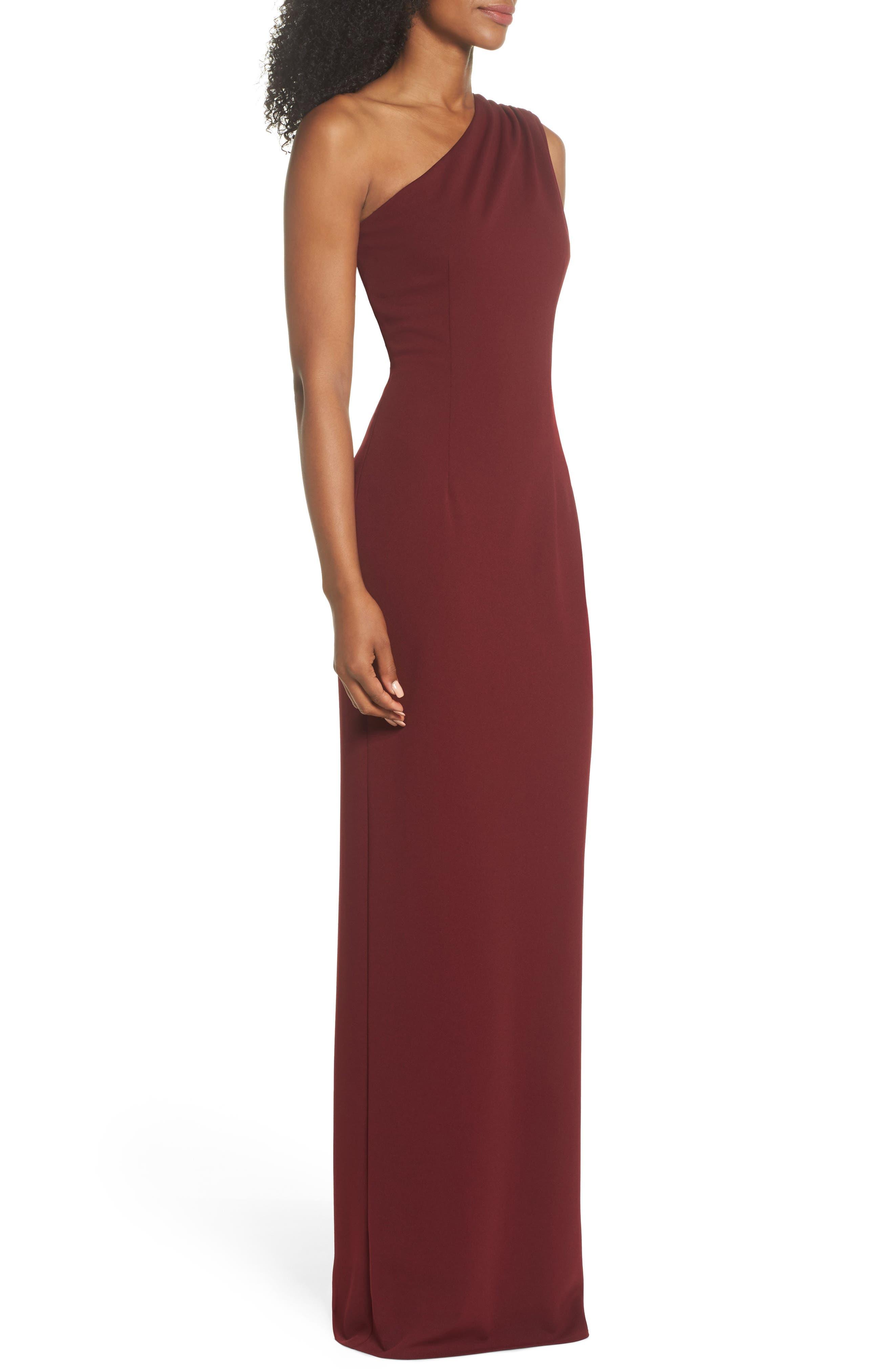 Angelina One-Shoulder Crepe Column Gown,                             Alternate thumbnail 3, color,                             Bordeaux