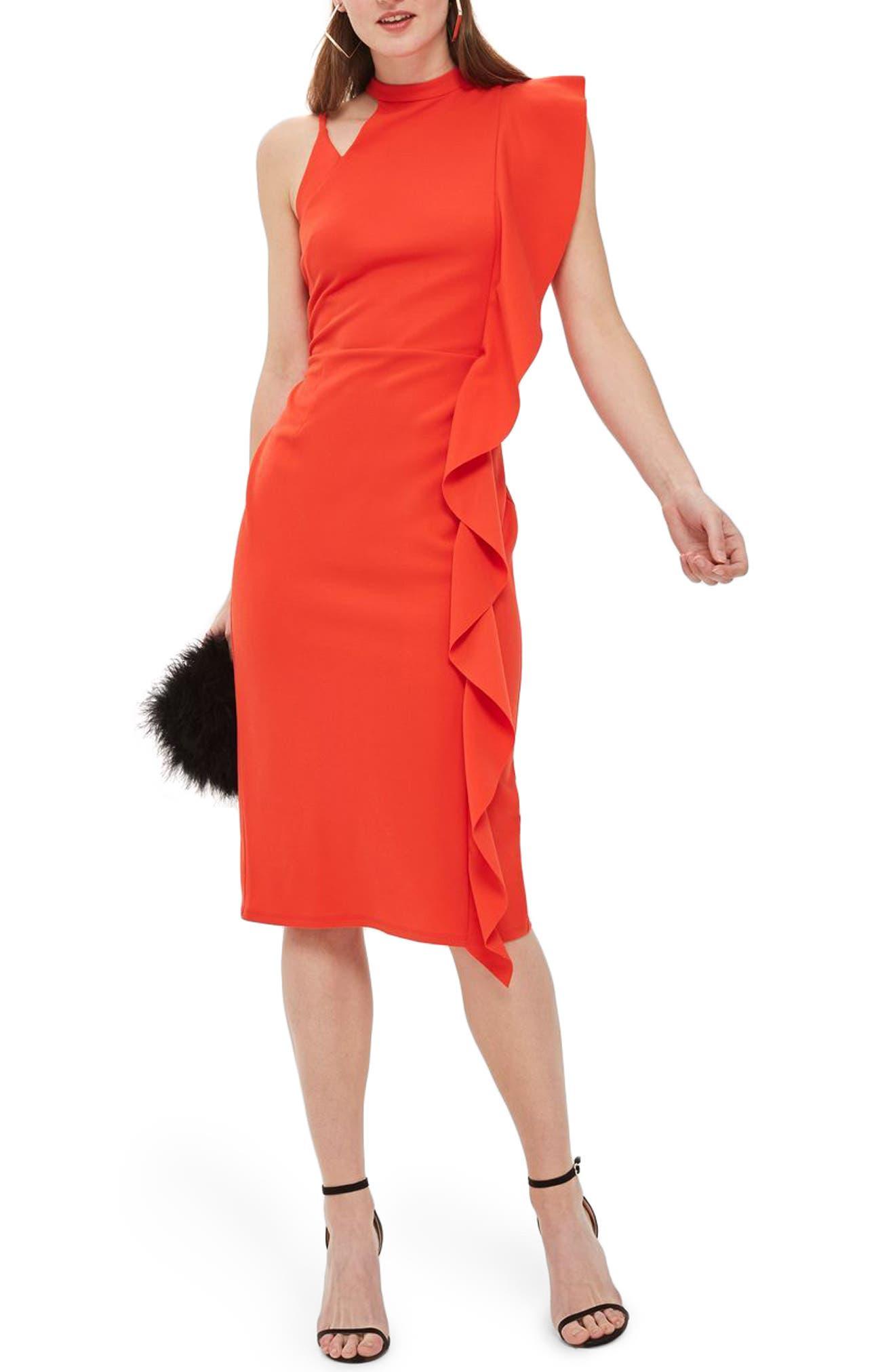 Asymmetrical Ruffle Midi Dress,                             Main thumbnail 1, color,                             Red
