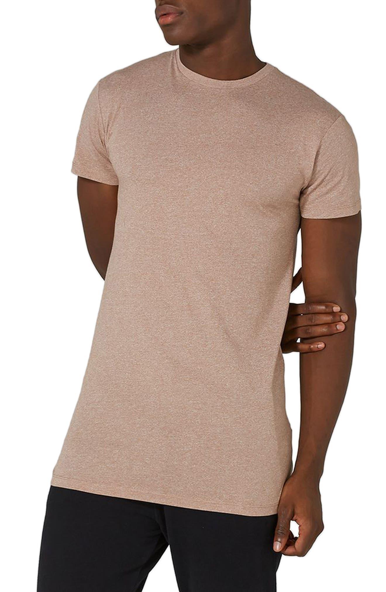 Muscle Fit Longline T-Shirt,                         Main,                         color, Light Brown