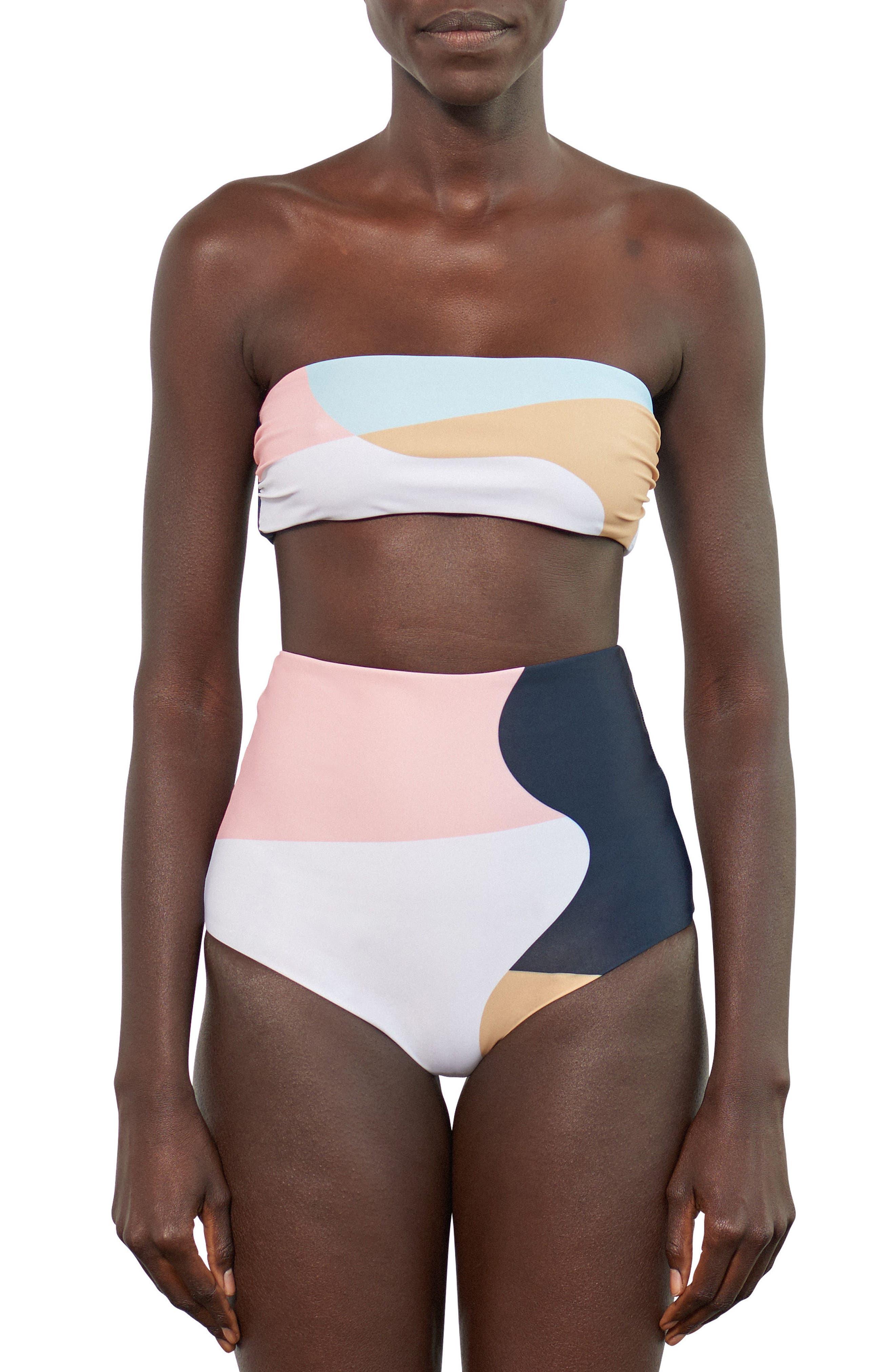 Abigail Bandeau Bikini Top,                             Alternate thumbnail 4, color,                             Peach Multi