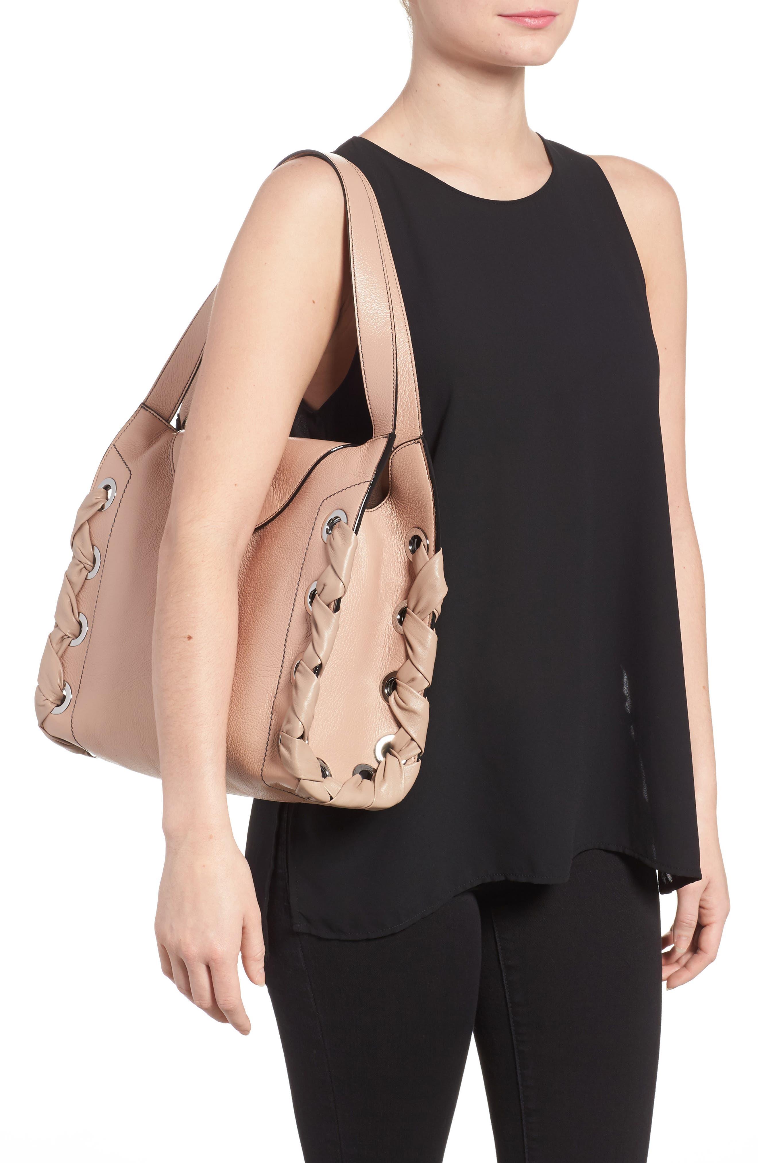 Rebel Leather Shoulder Bag,                             Alternate thumbnail 2, color,                             Ballet Pink