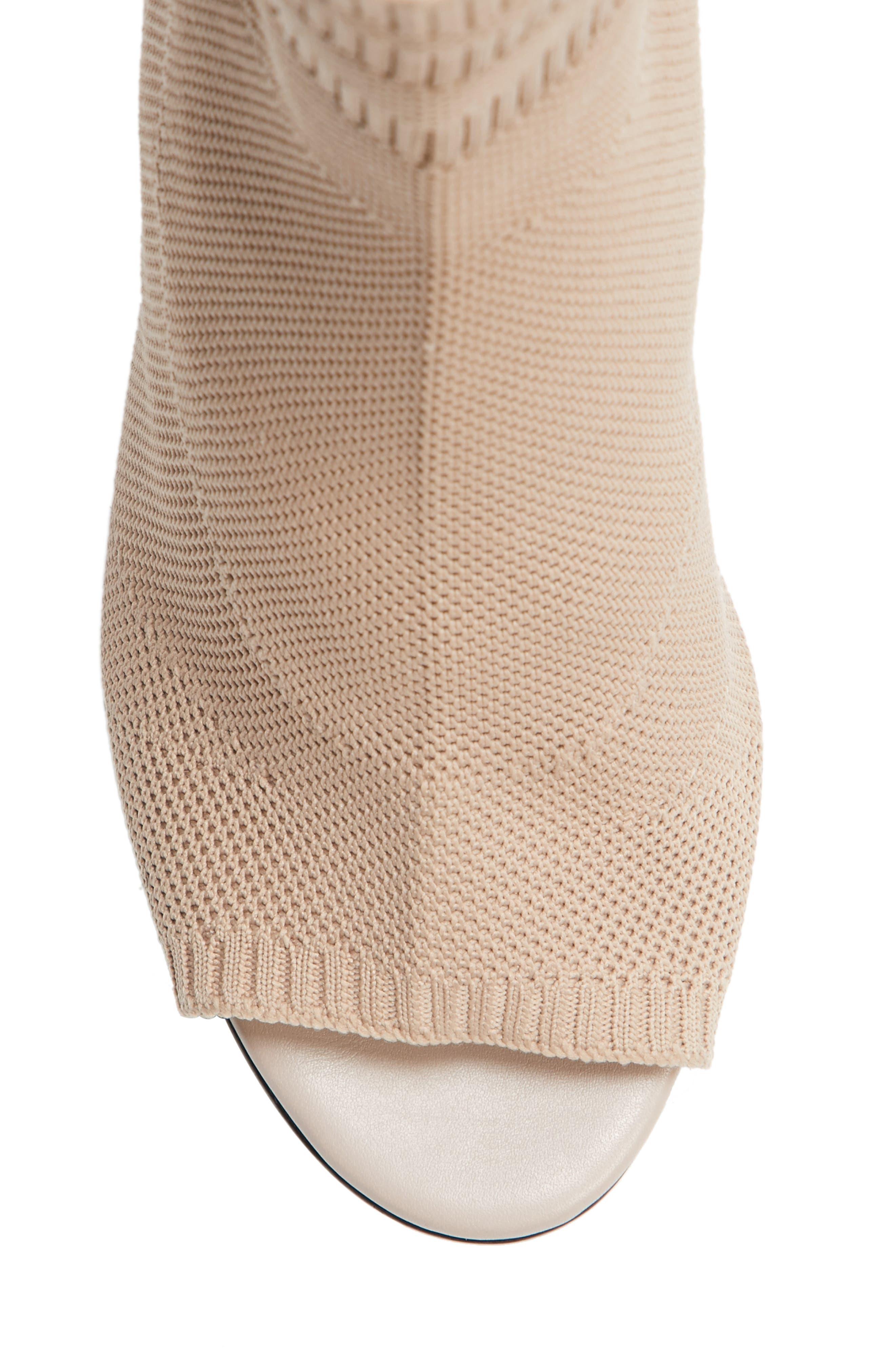 Cat Knit Sock Boot,                             Alternate thumbnail 5, color,                             Nude