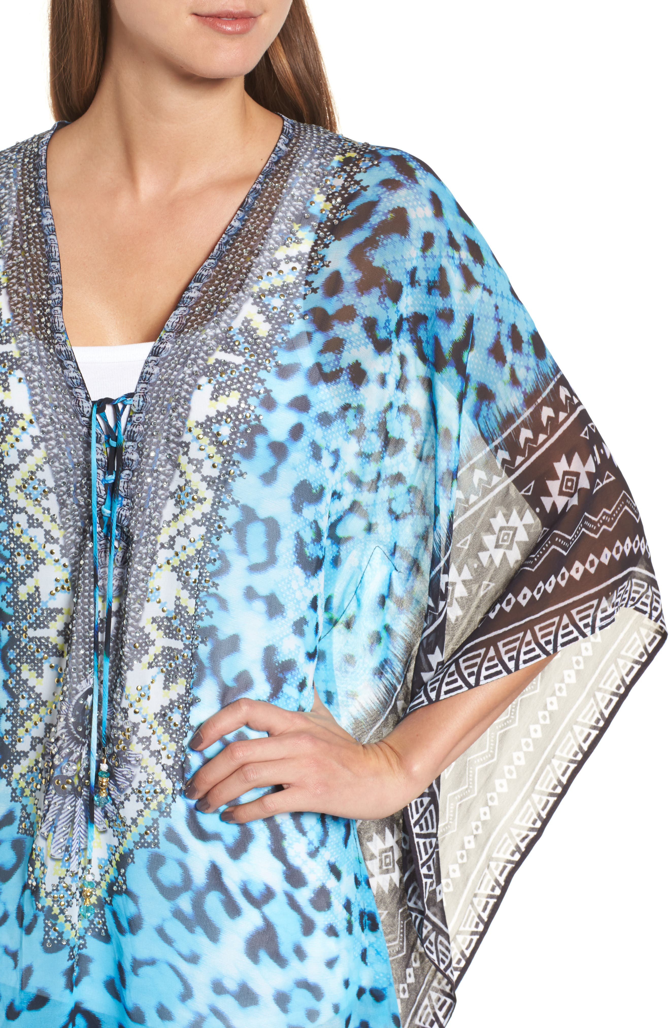 Cairo Short Kaftan,                             Alternate thumbnail 4, color,                             Blue Leopard Multi