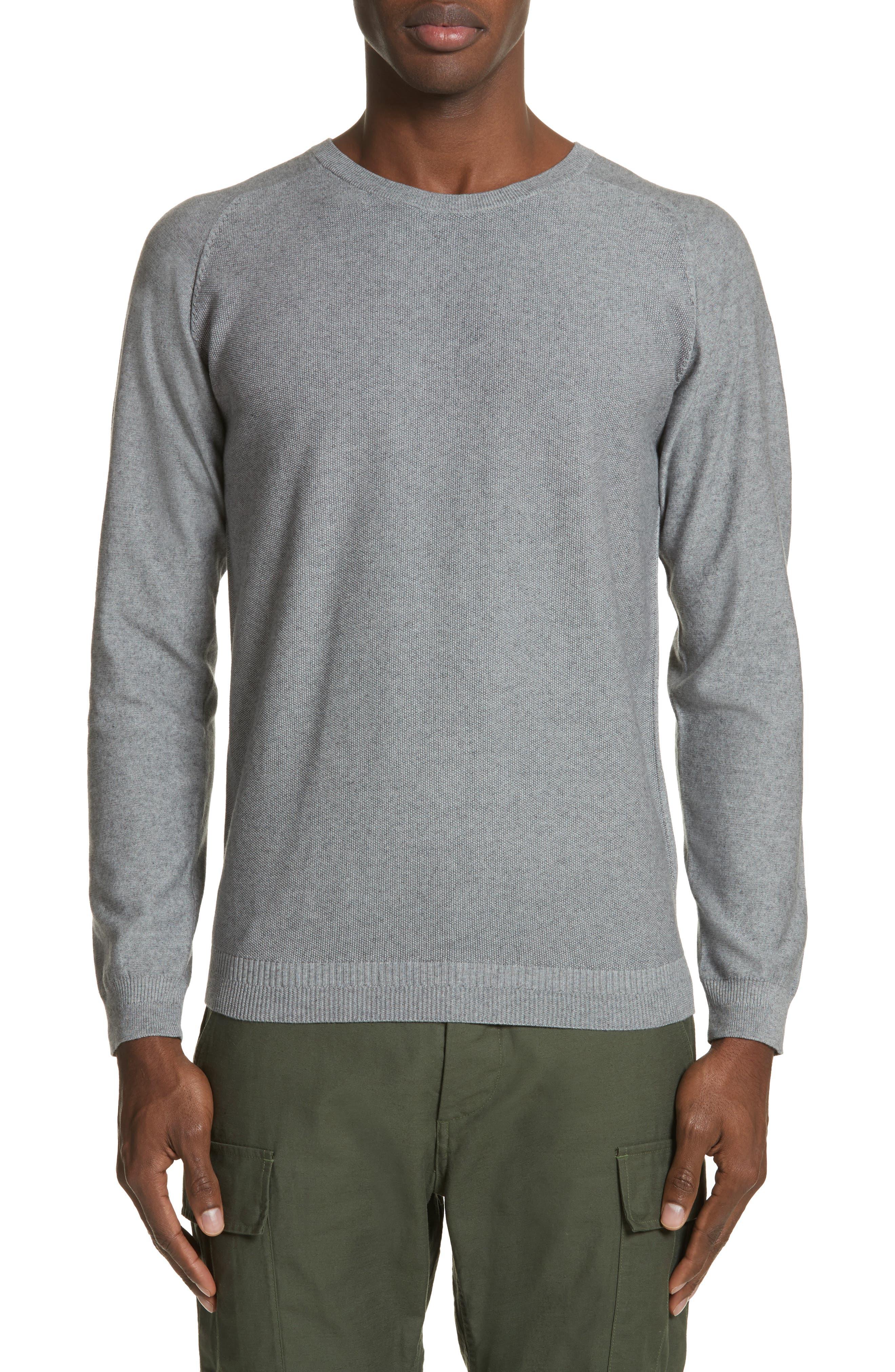 Cotton & Cashmere Sweater,                             Main thumbnail 1, color,                             Heather Grey