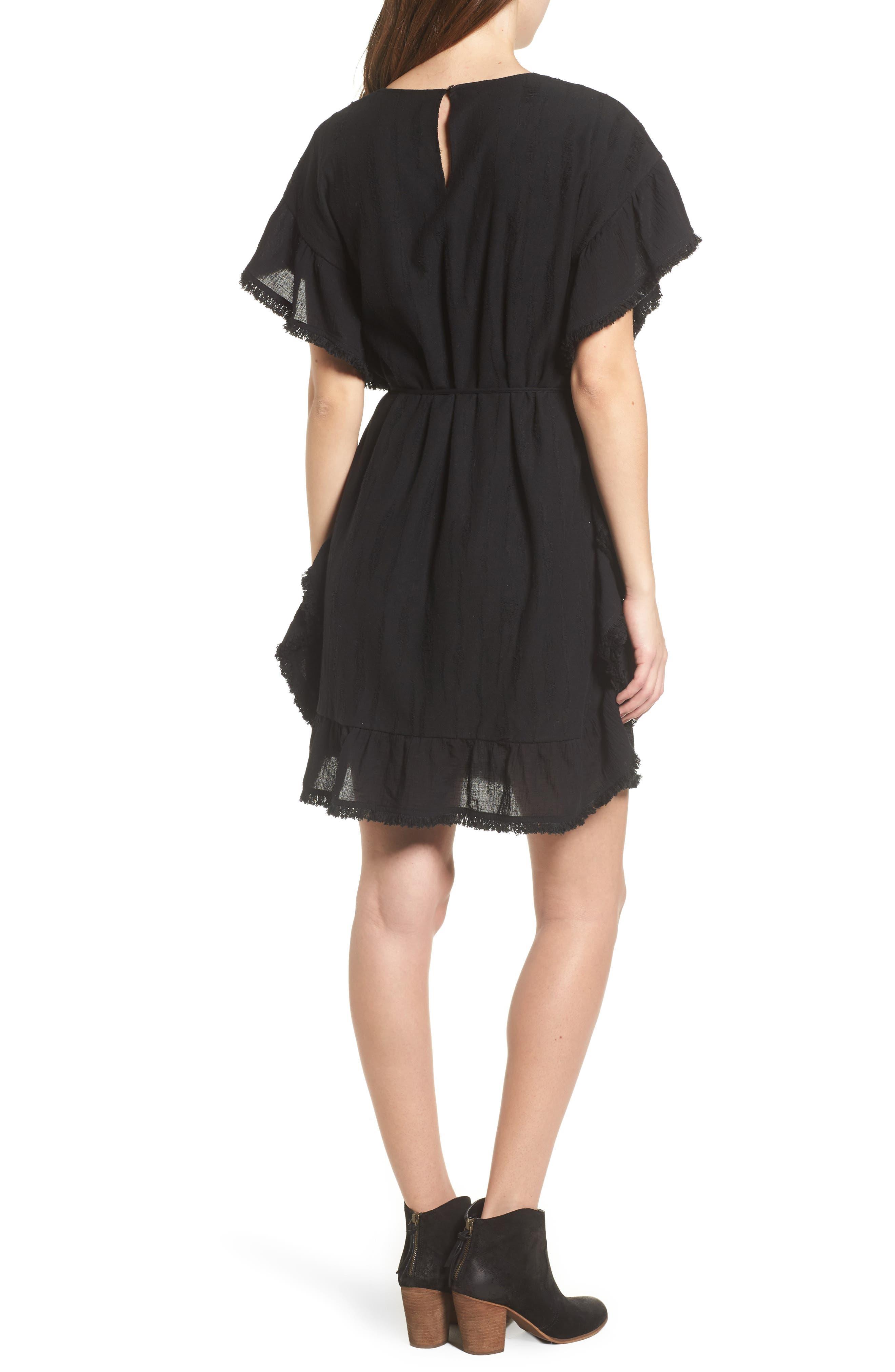 Ruffle Edge Dress,                             Alternate thumbnail 2, color,                             Black