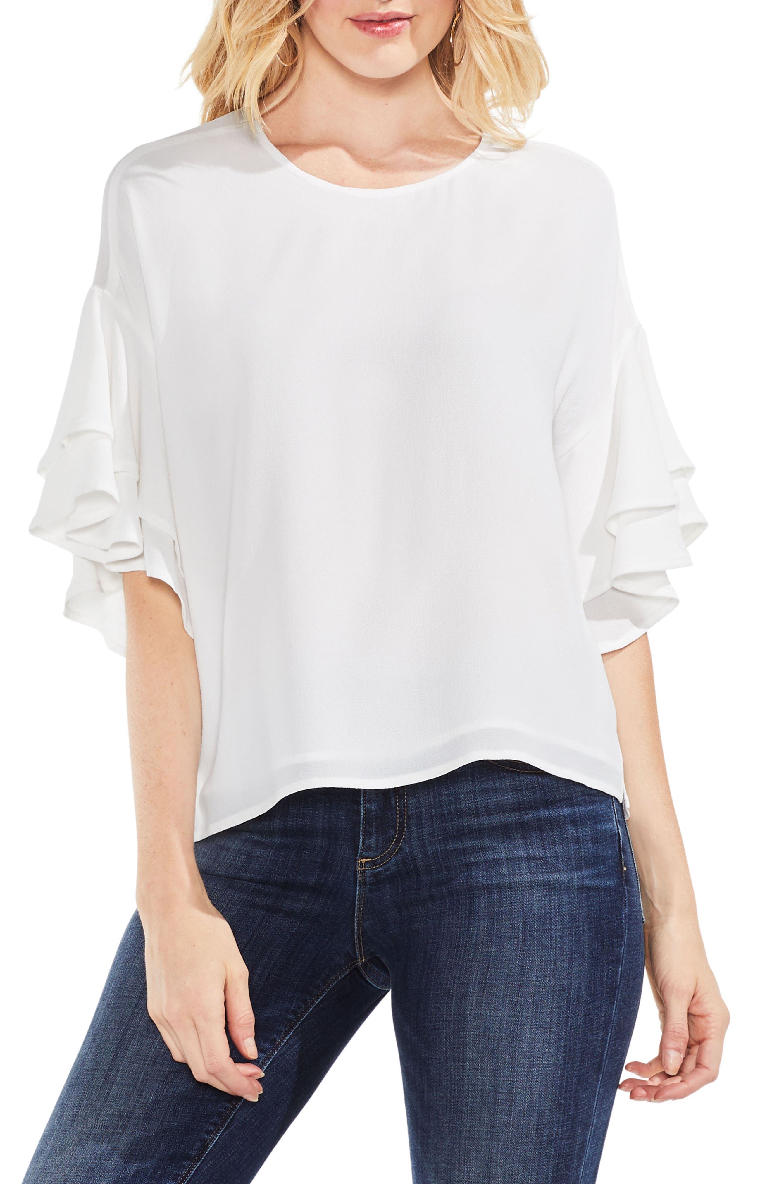 Tiered Ruffle Sleeve Blouse,                         Main,                         color, New Ivory