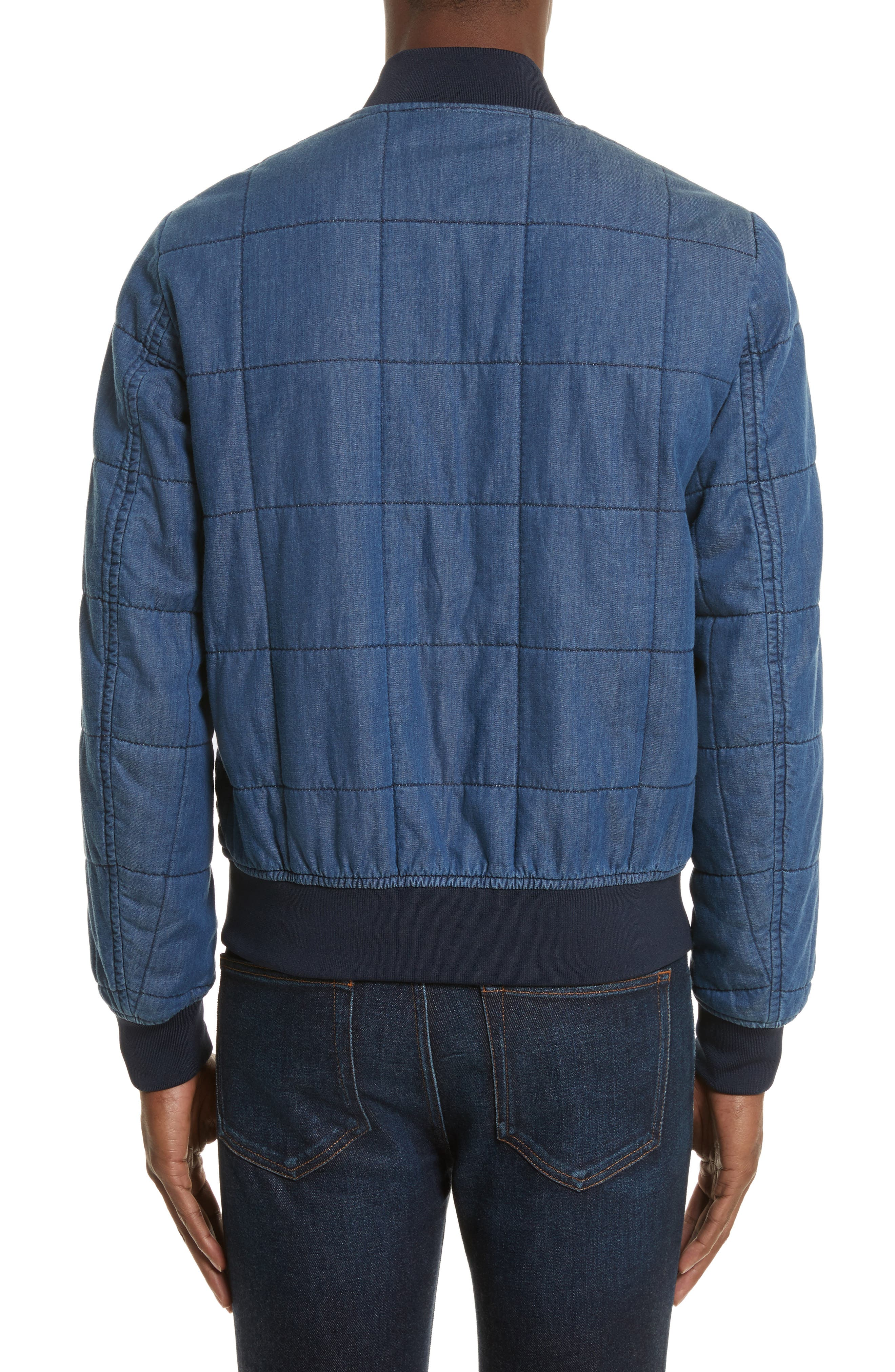 Quilted Bomber Jacket,                             Alternate thumbnail 2, color,                             Medium Blue