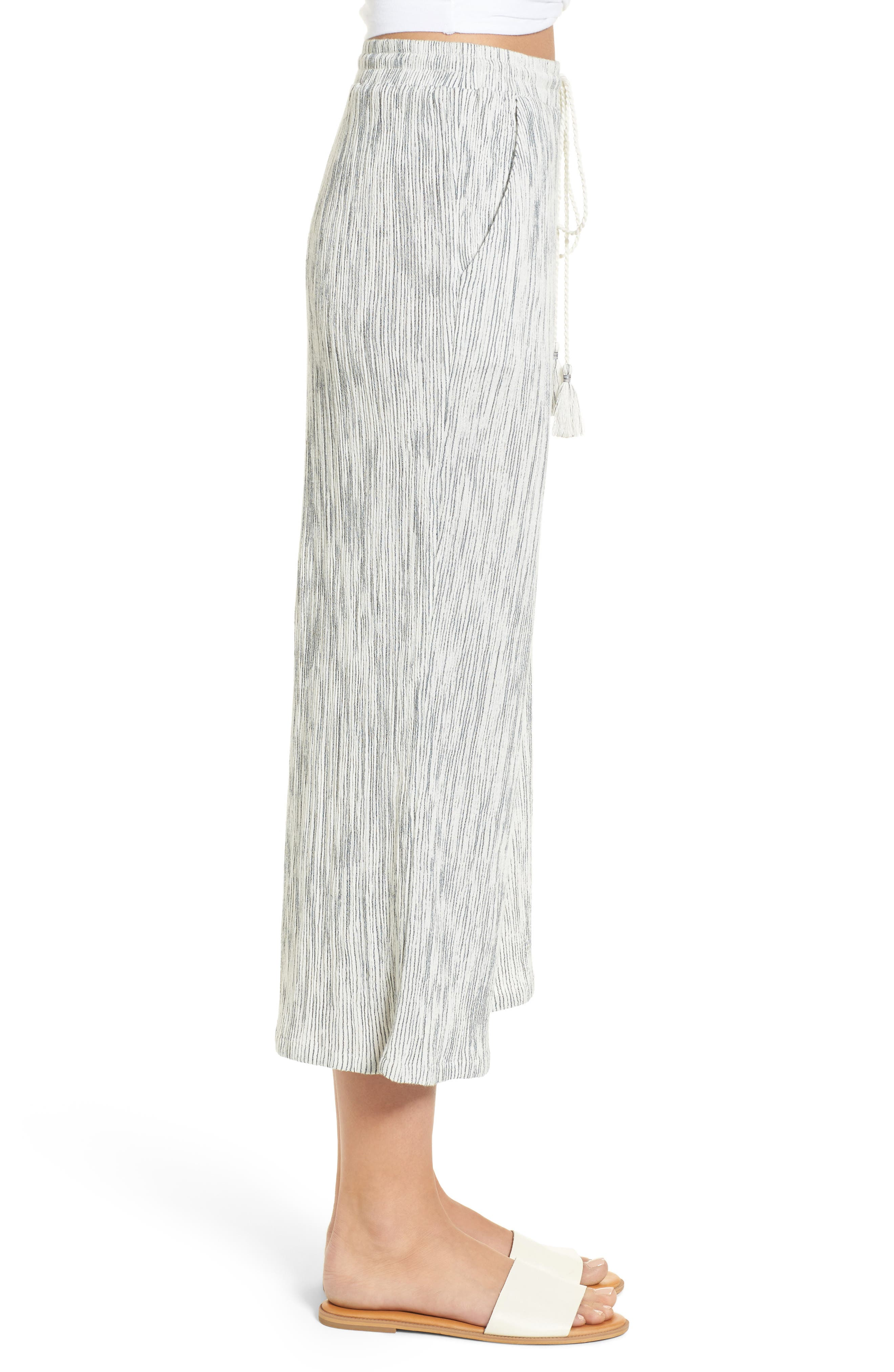 Crinkled Wide Leg Crop Pants,                             Alternate thumbnail 3, color,                             Ivory Angel Stripe