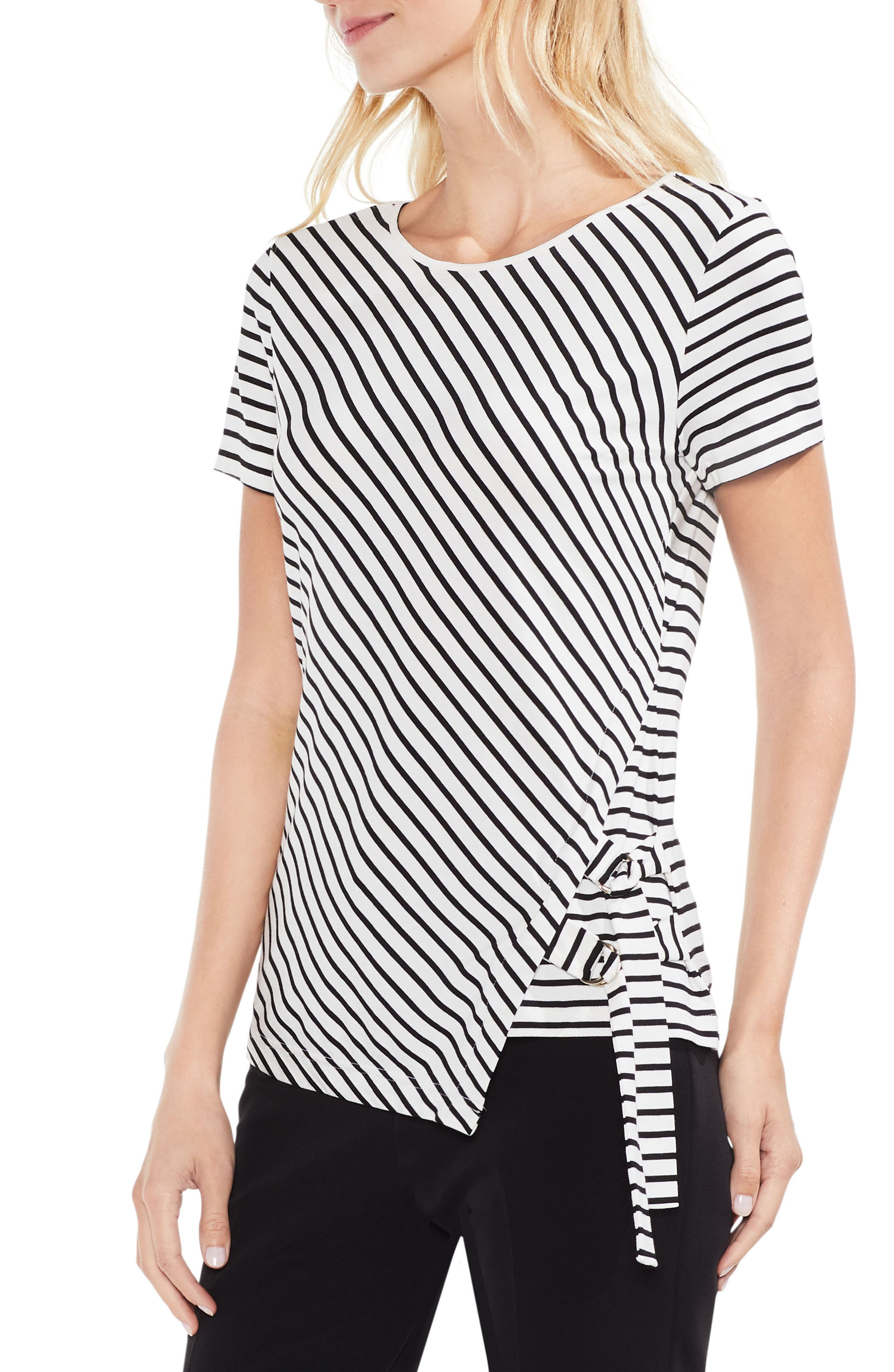 Faux Wrap Stripe Tee,                         Main,                         color, New Ivory