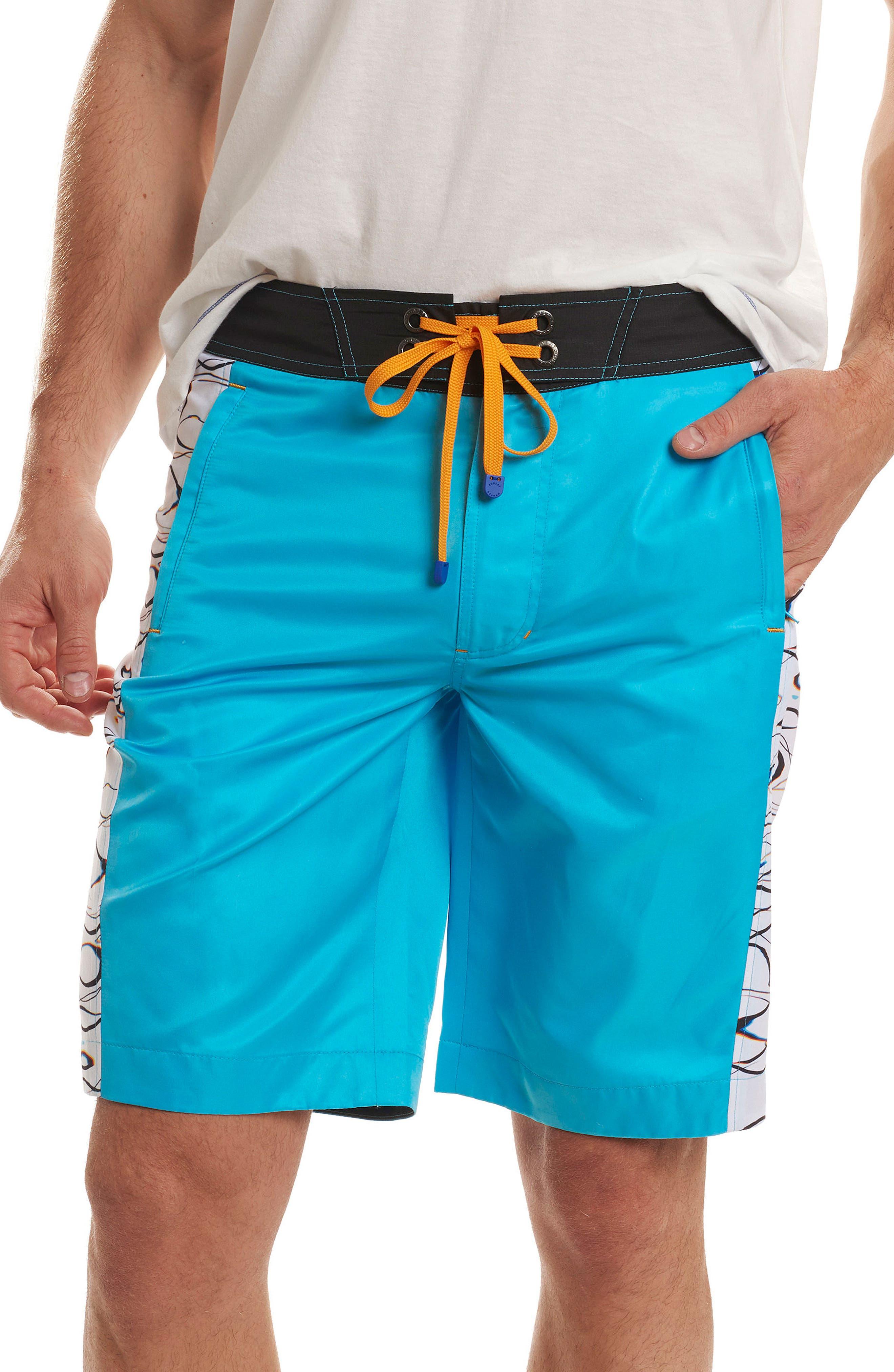 Maili Classic Fit Swim Trunks,                         Main,                         color, Aqua
