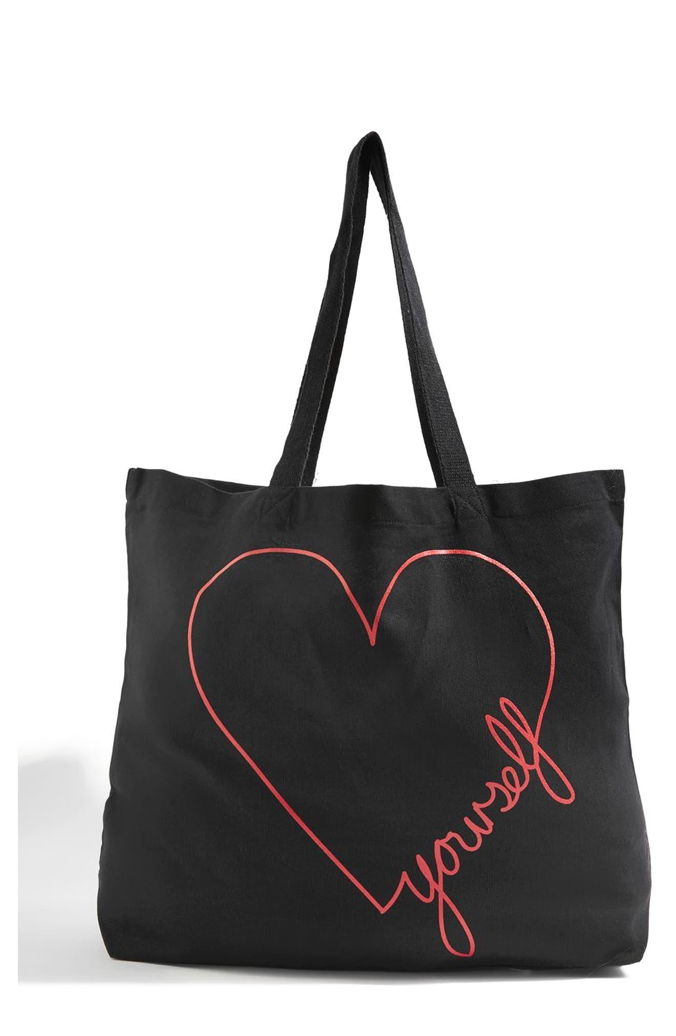 Love Yourself Canvas Tote Bag,                             Main thumbnail 1, color,                             Black Multi