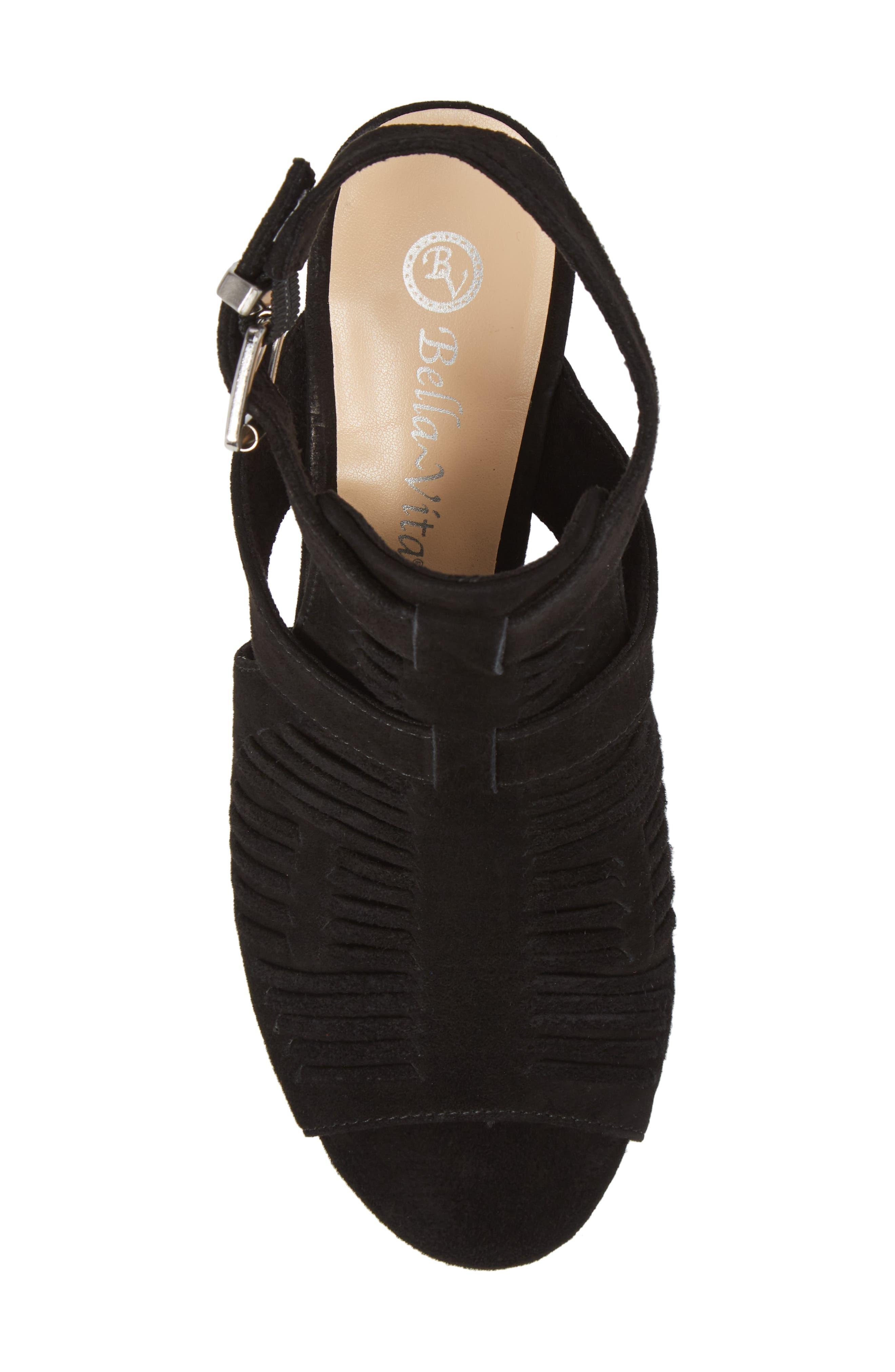 Finley Ankle Strap Sandal,                             Alternate thumbnail 5, color,                             Black Suede